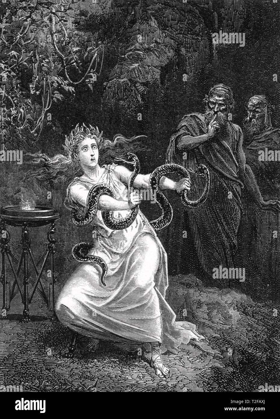 ORACLE OF DELPHI The Pythia (High Priestess) wrestles with snakes in an early 19th century engraving - Stock Image