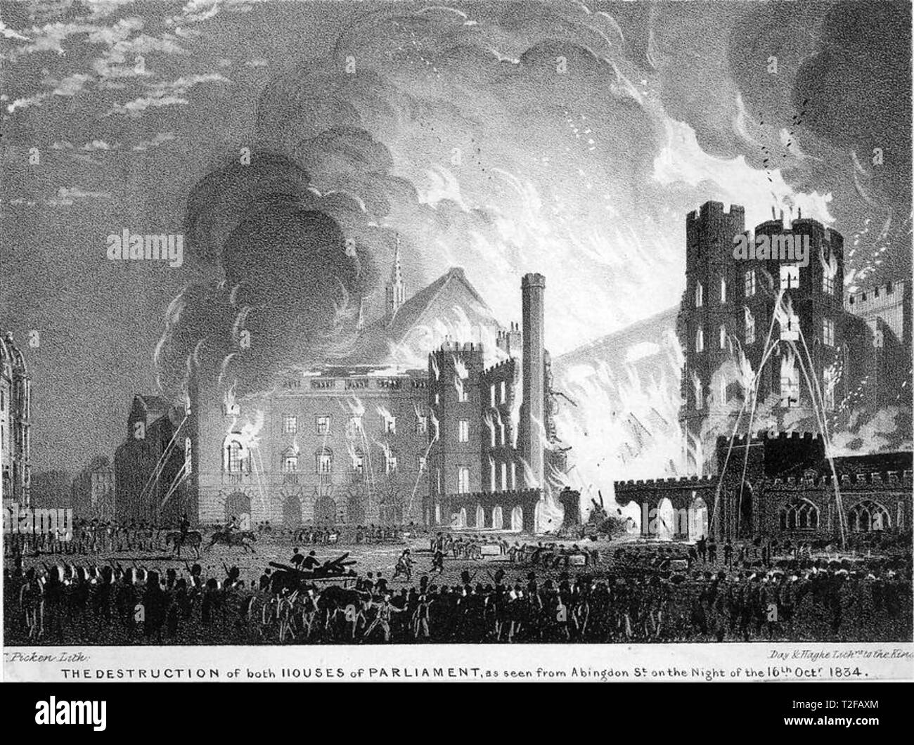 HOUSES OF PARLIAMENT are destroyed in the great fire of 16 October 1834 - Stock Image