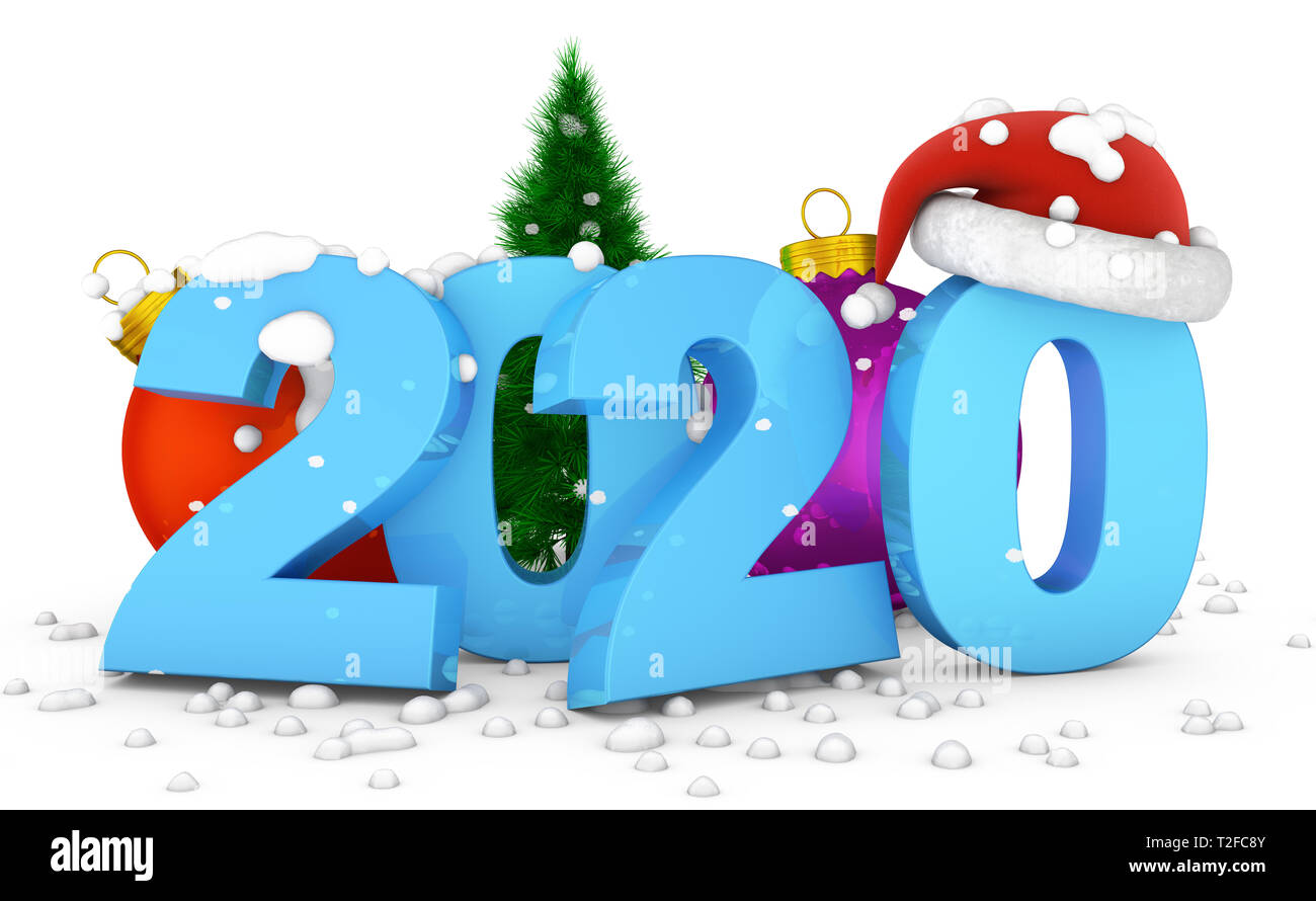 2020 Christmas Numbers The numbers 2020 and ball Christmas tree on which the snow falls