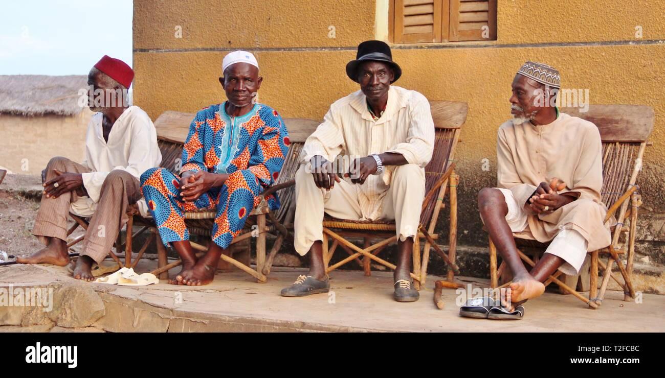 Village elders,  Yedandiekahai, Côte d'Ivoire (Ivory Coast) - Stock Image