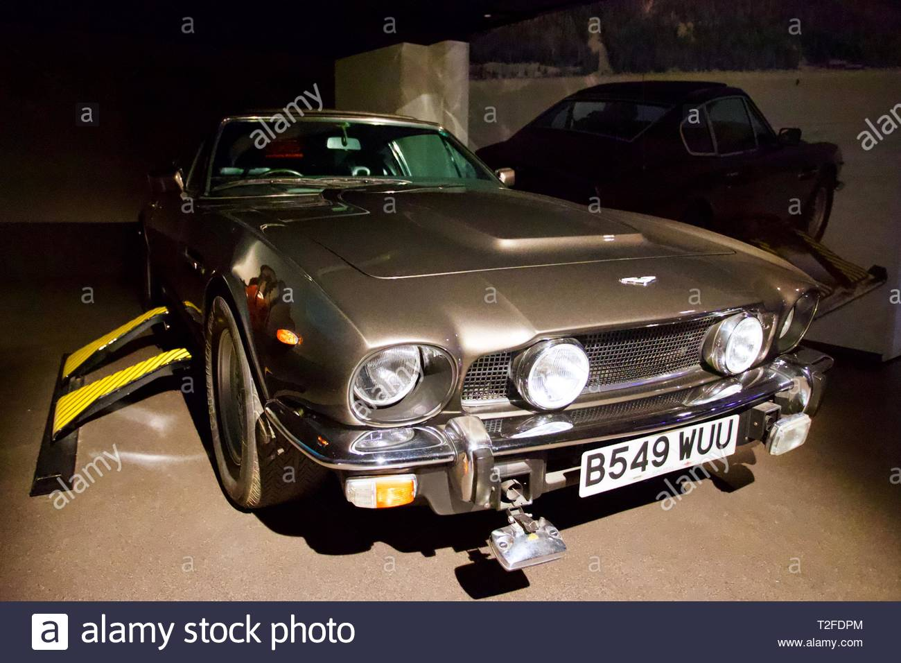 Bond in Motion. London Film Museum. The Living Daylights 1987 - Aston Martin V8 Vantage Volante 1985. London, England. - Stock Image