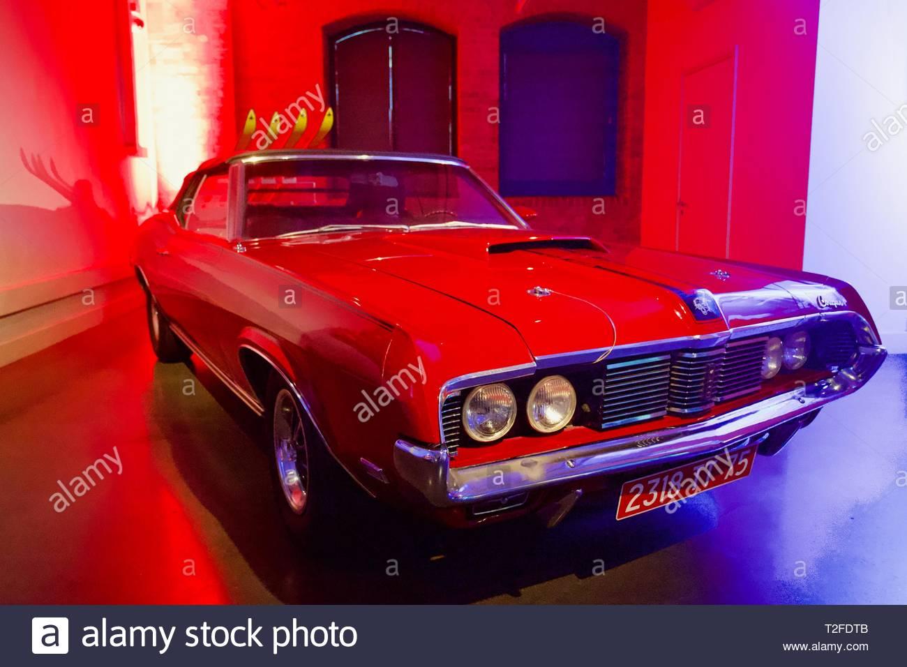 Bond in Motion. London Film Museum. On Her Majesty's Secret Service 1969 - Mercury Cougar XR-7 1969. London, England. - Stock Image