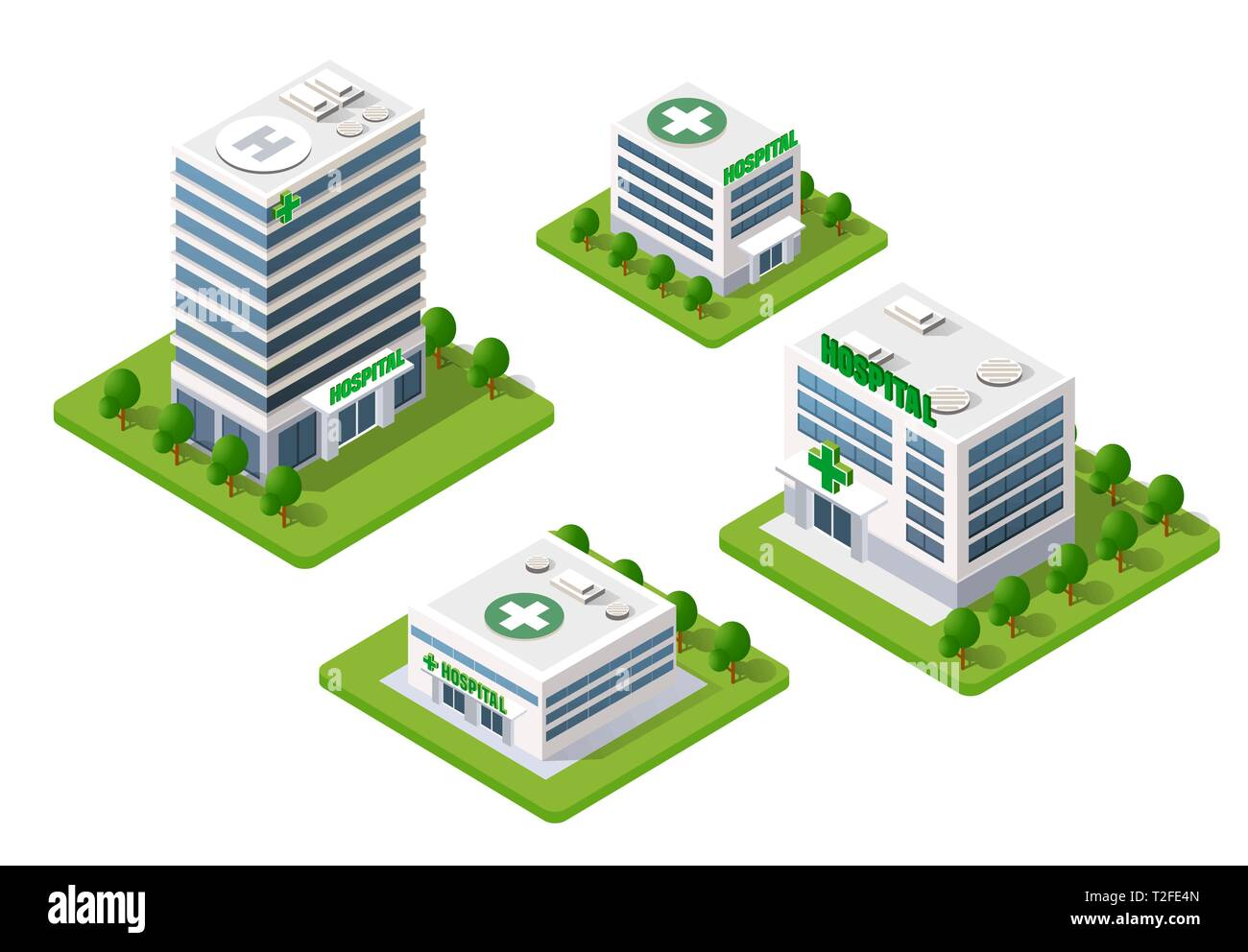 Hospital Isometric 3d Building Health Urban of architecture