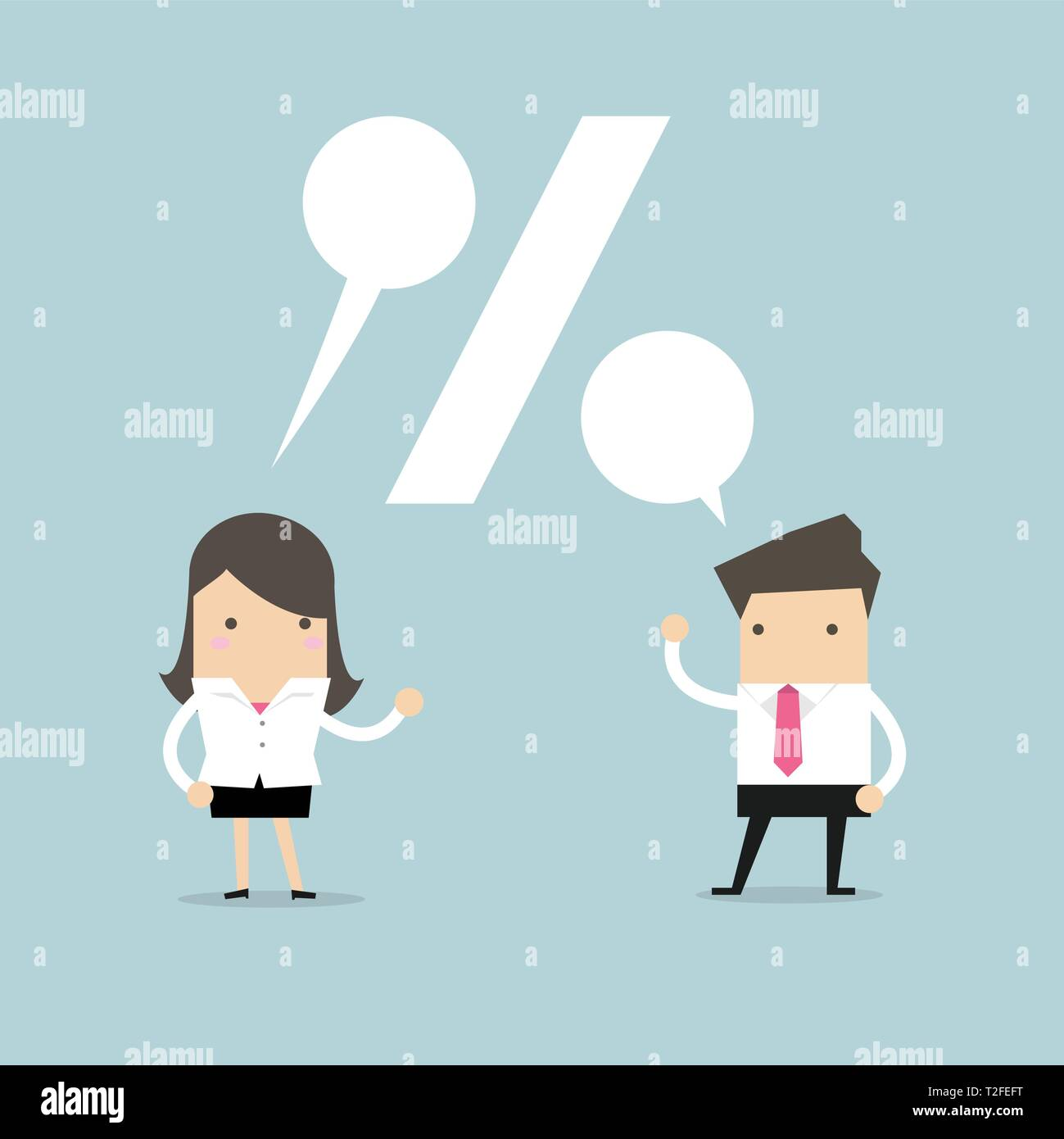 Businessman and Businesswoman talking about the commission percentage. - Stock Vector