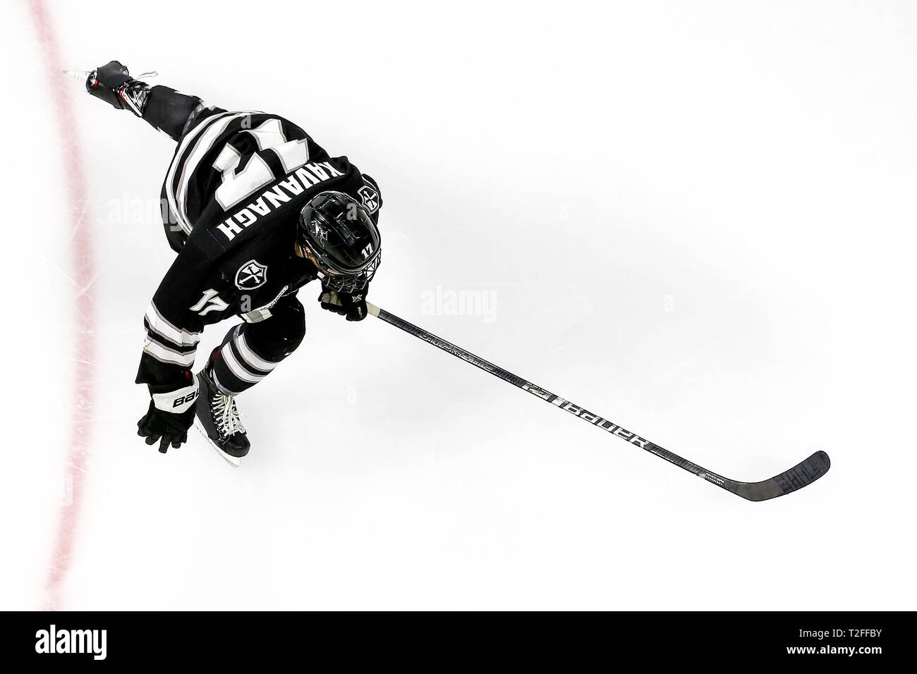 Providence, RI, USA. 30th Mar, 2019. Providence Friars forward Shane Kavanagh (17) skates up ice during the NCAA East Regional hockey game between Minnesota State Mavericks and the Providence College Friars at The Dunkin Donuts Center in Providence, RI. Alan Sullivan/CSM/Alamy Live News - Stock Image