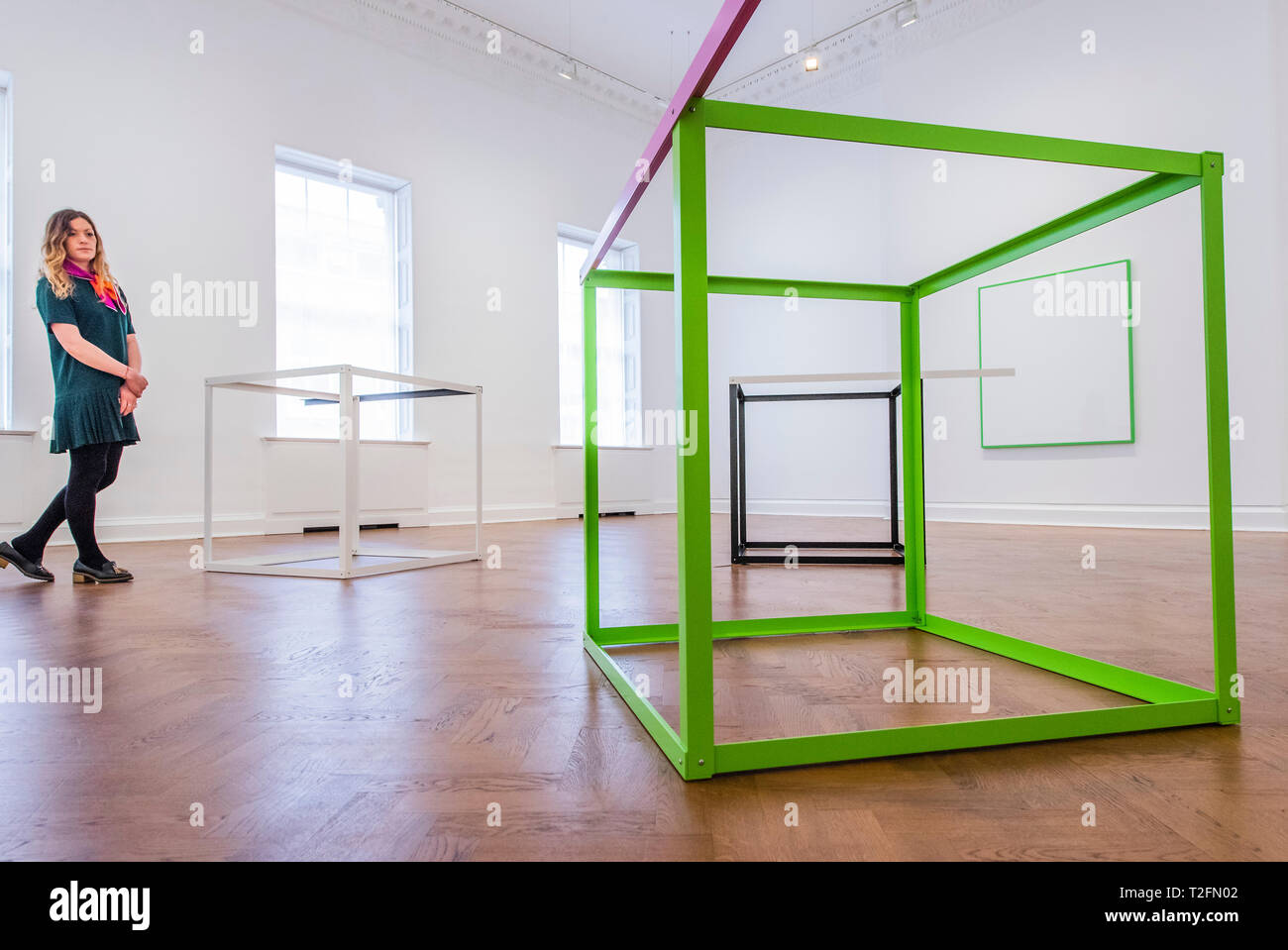 London, UK. 2nd Apr 2019. Romantic/Eclectic (Remodelled Carousel Edit) - a series of worksby Berlin-based Austrian artist Gerwald Rockenschaub in which he presents his abstracted 'geometric playgrounds' at Galerie Thaddaeus Ropac. Site-specific, multifaceted wall installations that respond to the architecture of Ely House – alongside his Intarsia and Relief series. The artist has been associated with the Neo-Geo movement as well as with Minimalism. Credit: Guy Bell/Alamy Live News - Stock Image