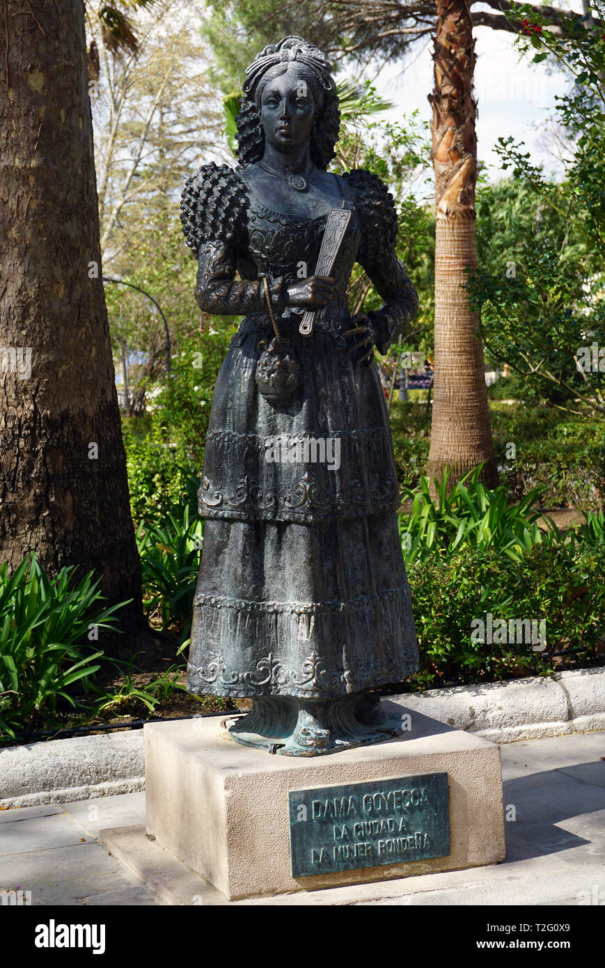 Dama Goyesca at the Alameda del Tajo Park in Ronda Spain - Stock Image
