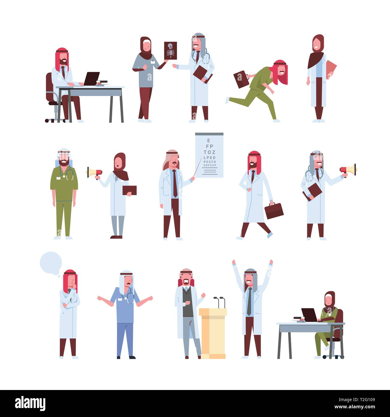 set arab doctors different poses working process arabic man woman in uniform hospital medicine workers collection male female cartoon characters full  - Stock Image