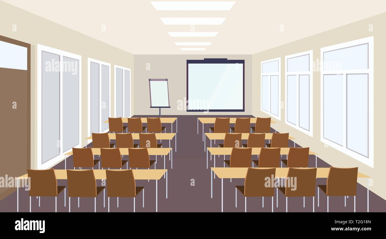 modern meeting conference presentation classroom interior with desks chairs and blank screen lecture seminar hall large sitting capacity empty no peop - Stock Vector