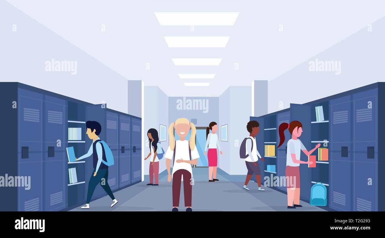 mix race schoolchildren group visiting their lockers modern school corridor interior education concept horizontal full length flat vector illustration - Stock Vector