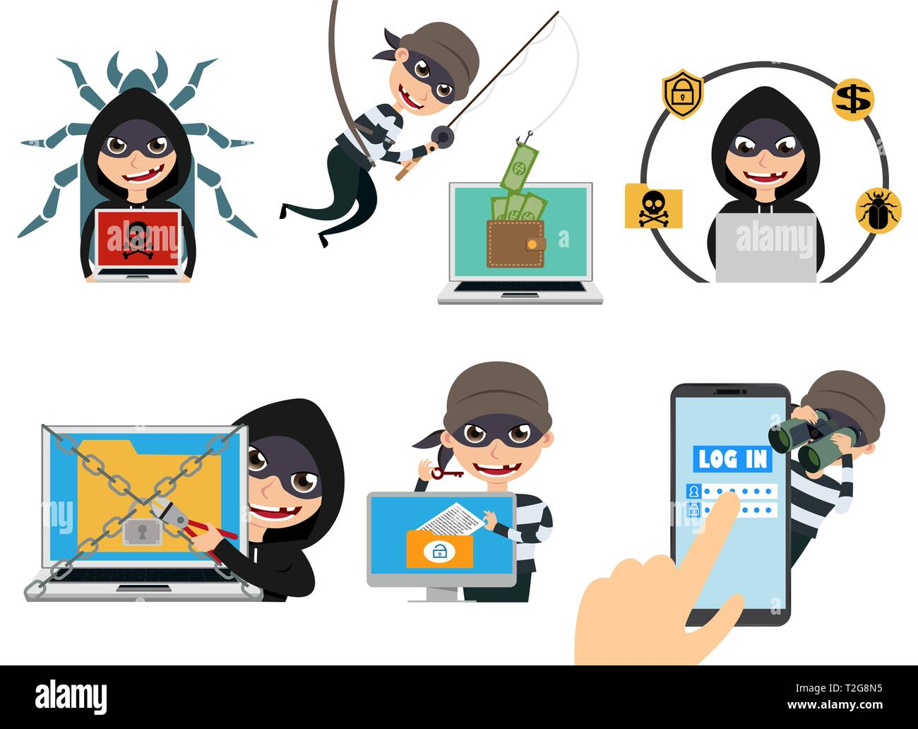 cyber security hacker vector character set thief hacking computer stealing online password and login information vector illustration stock vector image art alamy https www alamy com cyber security hacker vector character set thief hacking computer stealing online password and login information vector illustration image242532561 html