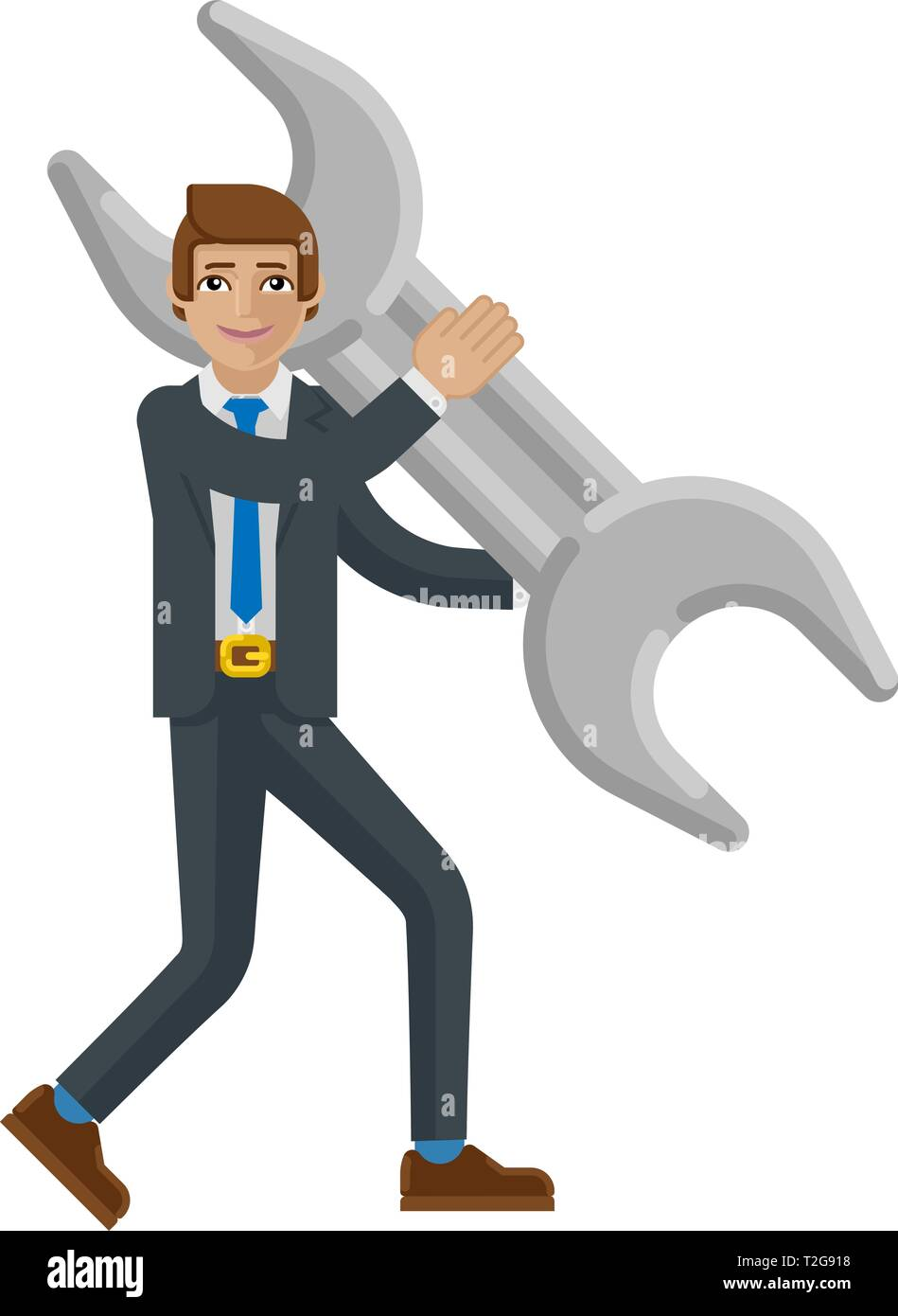 A businessman cartoon character mascot man holding a big spanner wrench business concept - Stock Image