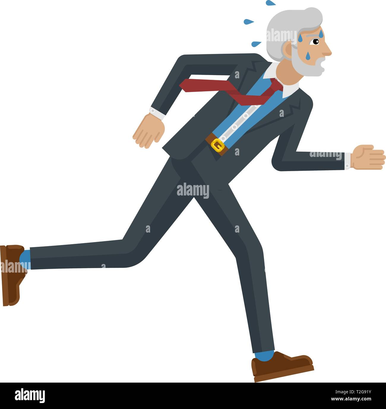 A stressed and tired looking mature businessman running as fast as he can to keep up with his workload or compete. Business concept illustration in fl - Stock Image