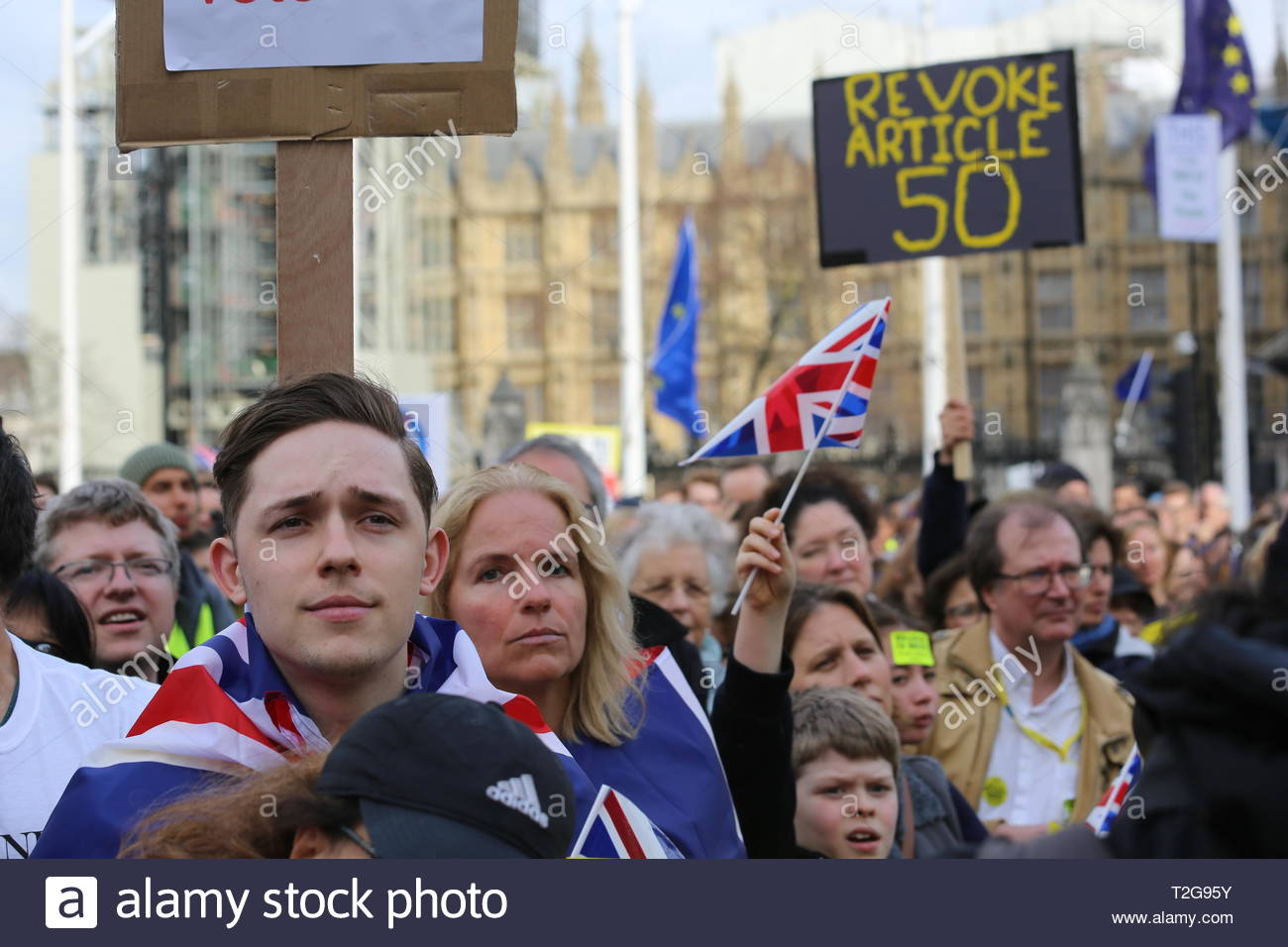 The people's vote protest has ended at Westminster Westminster.Many well known speakers including Tom Watson and Nicola Sturgeon addressed the crowd t - Stock Image