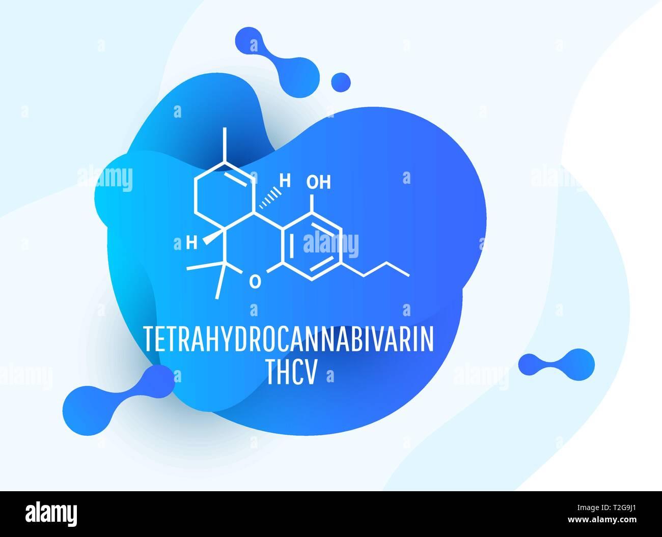 Tetrahydrocannabivarin Chemical formulas of natural cannabinoids. - Stock Image