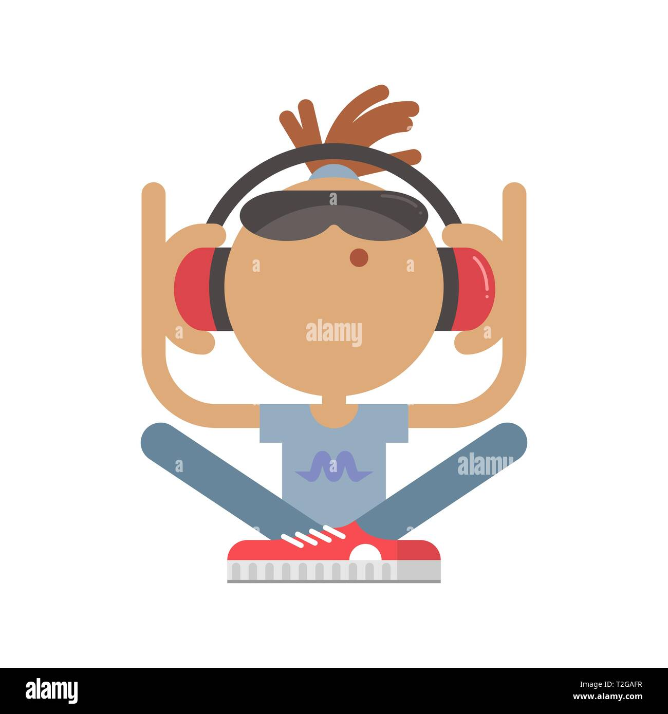 The character in flat style shows a music-lover that is sitting with crossed legs and listening to music. He is wearing sunglasses and headphones. - Stock Vector
