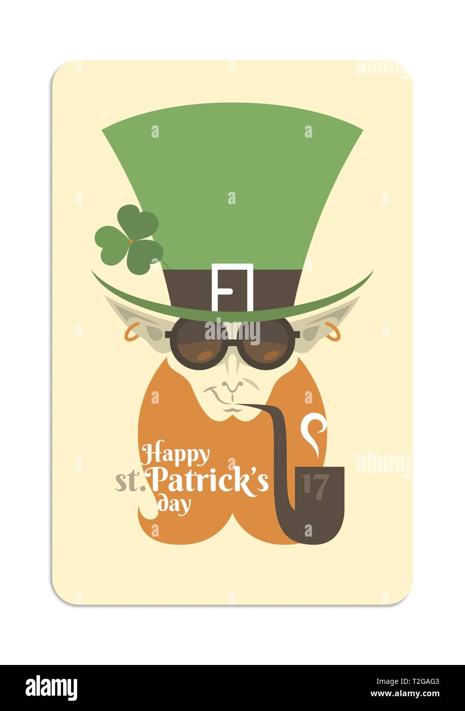 Flat illustration of a leprechaun for St. Patrick day. The stylised character wears round glasses and smokes the pipe. - Stock Image