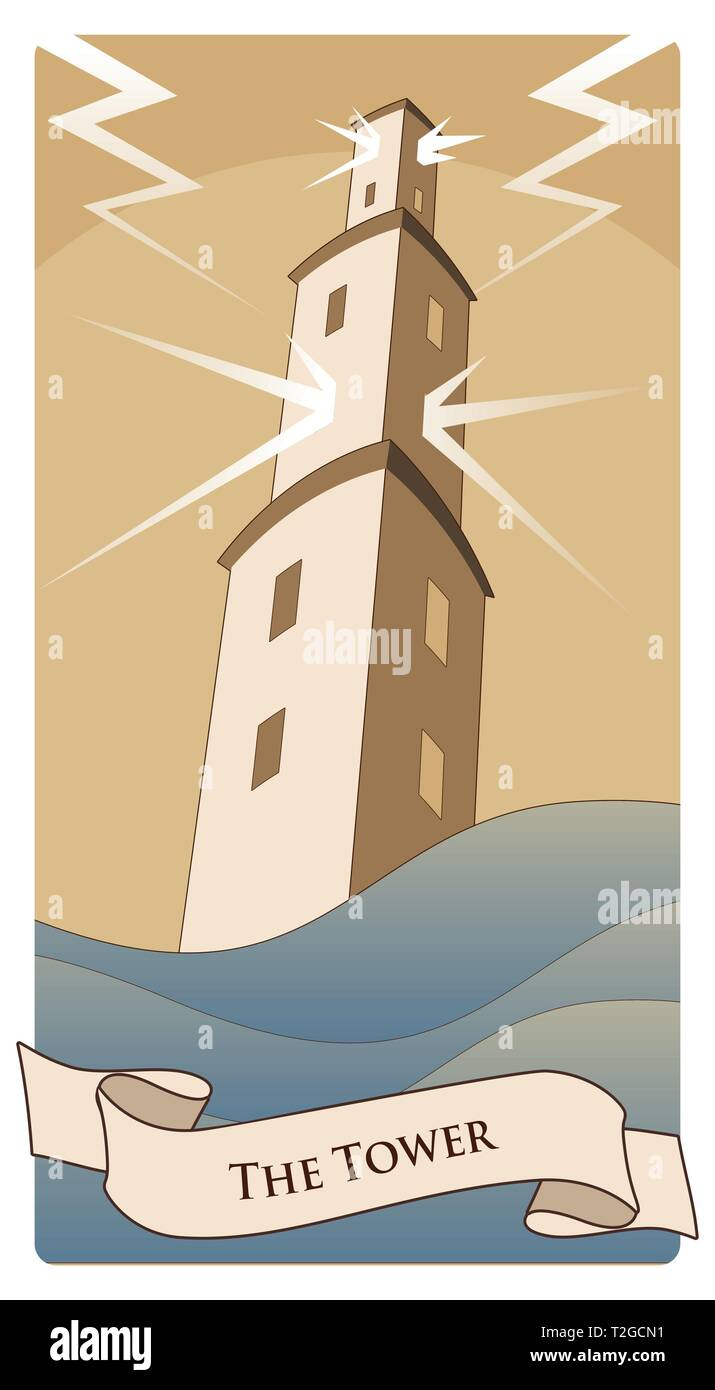 Major Arcana Tarot Cards. The Tower. Large tower over raging sea, under the storm and hurt by lightning. Stock Vector