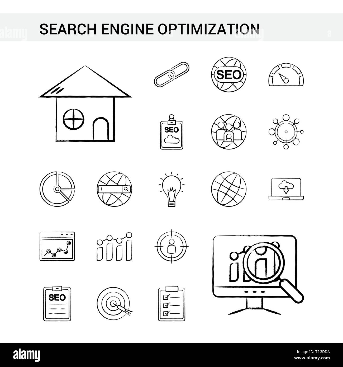 Search Engine Optimization hand drawn Icon set style