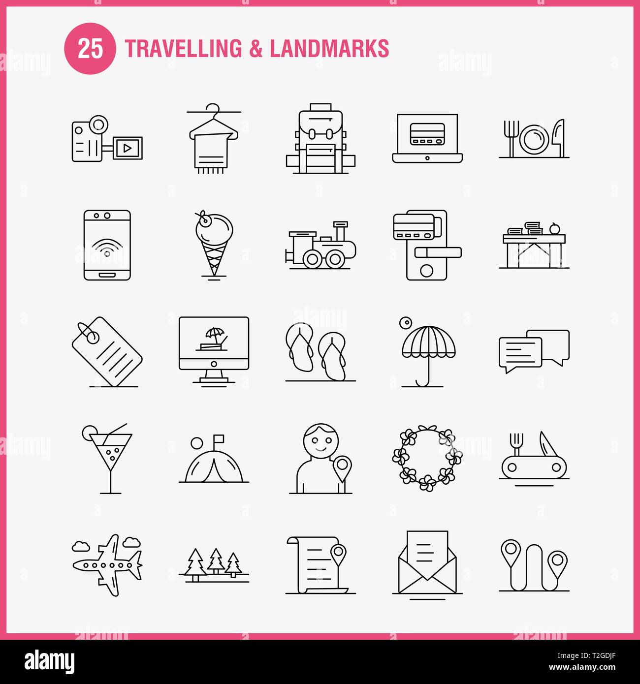 Travelling And Landmarks Line Icon for Web, Print and Mobile ... on