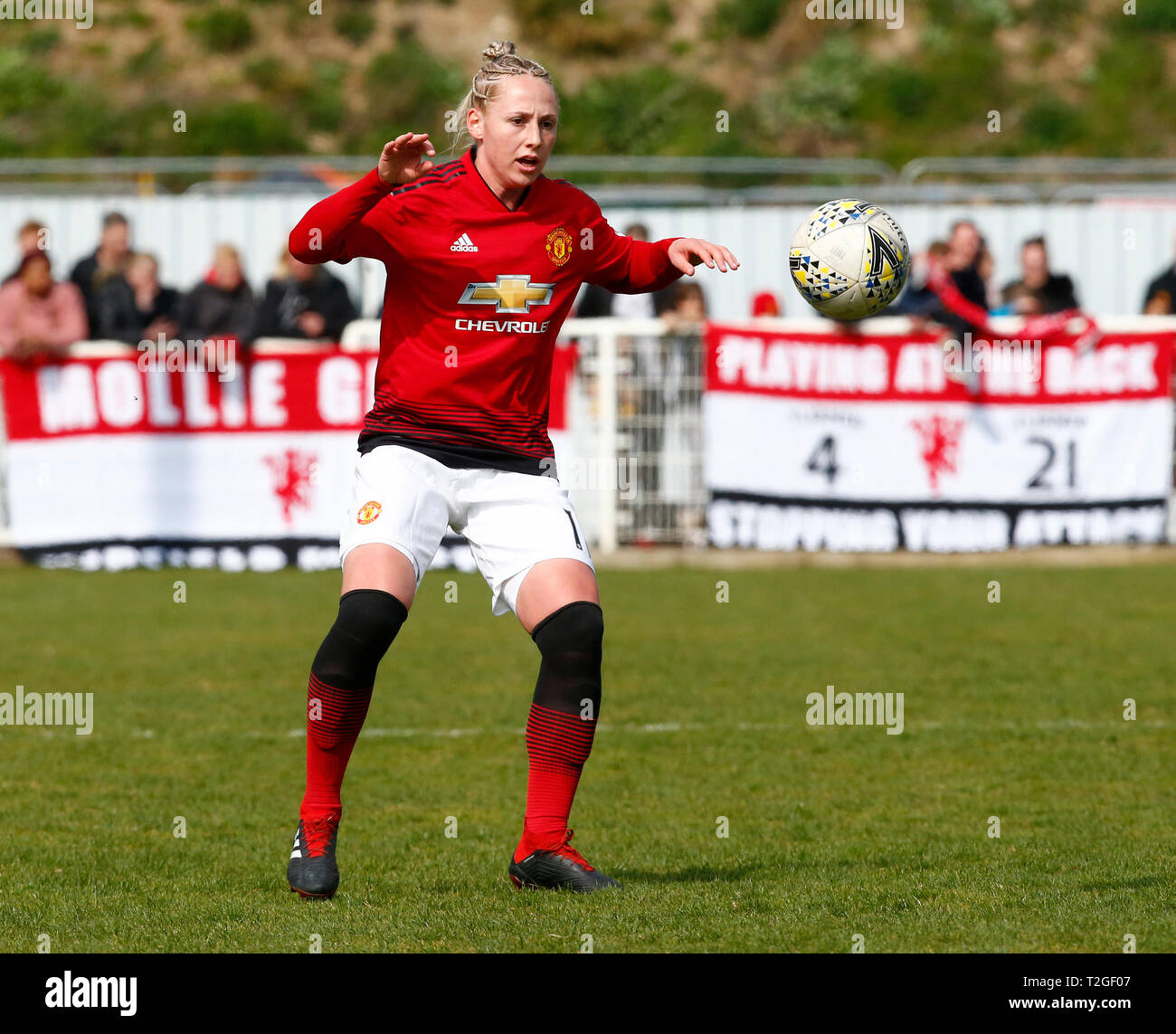 Cheshunt, UK. 31 March,2019 Leah Galton of Manchester United Women  during The FA Women's Championship match between Tottenham Hotspur Ladies and Manc - Stock Image