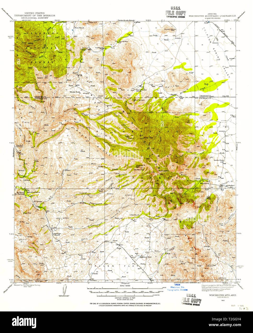 Topographical Map Of Arizona.Usgs Topo Map Arizona Az Winchester Mts 315189 1943 62500