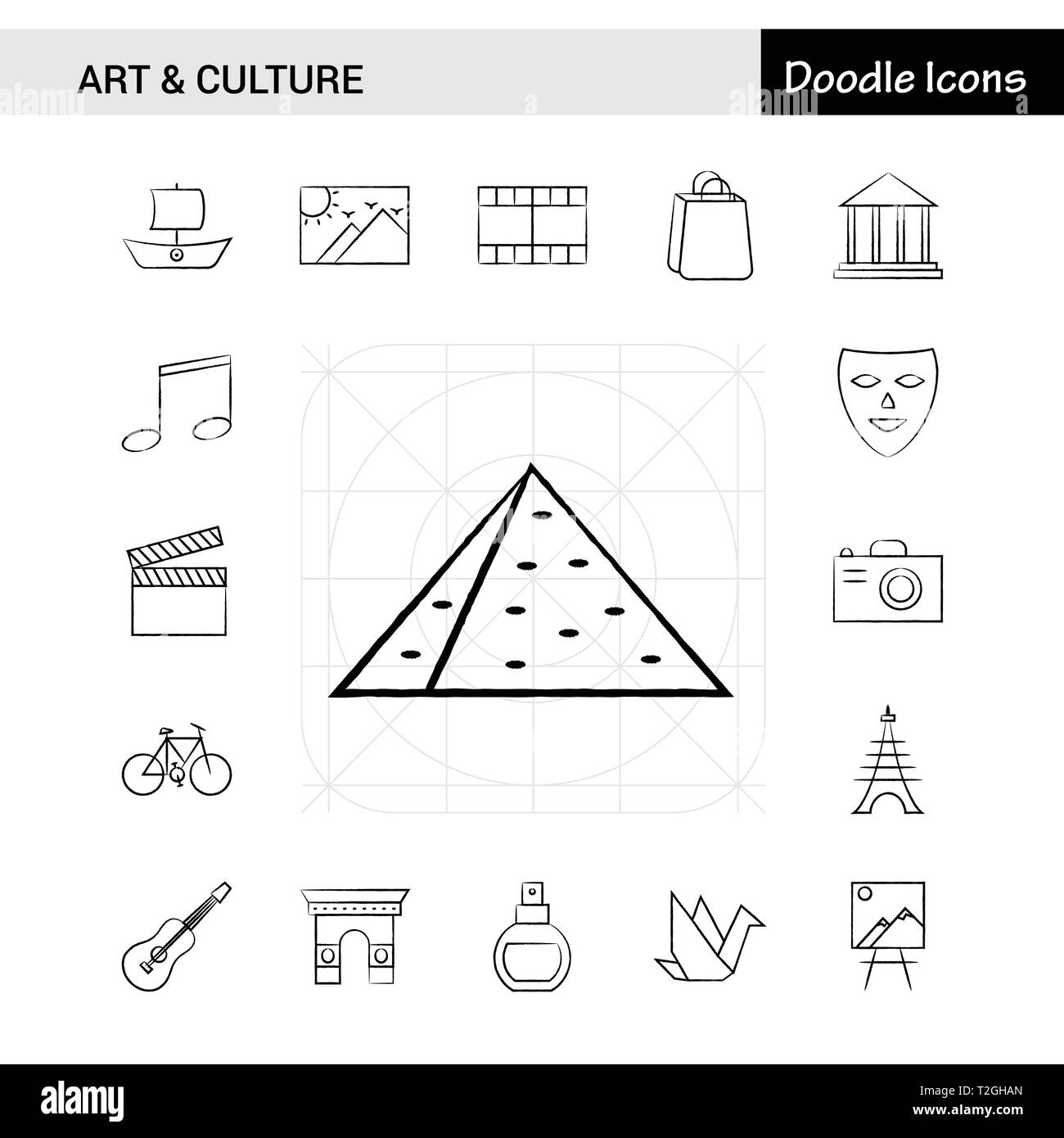 Set of 17 Art and Culture hand-drawn icon set - Stock Vector