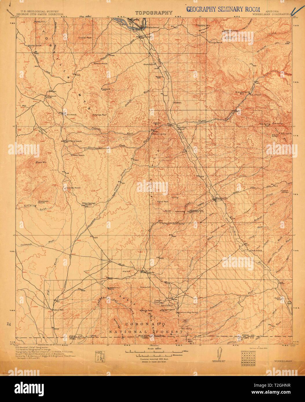 Topo Map Of Arizona.Usgs Topo Map Arizona Az Winkelman 705138 1913 125000 Restoration