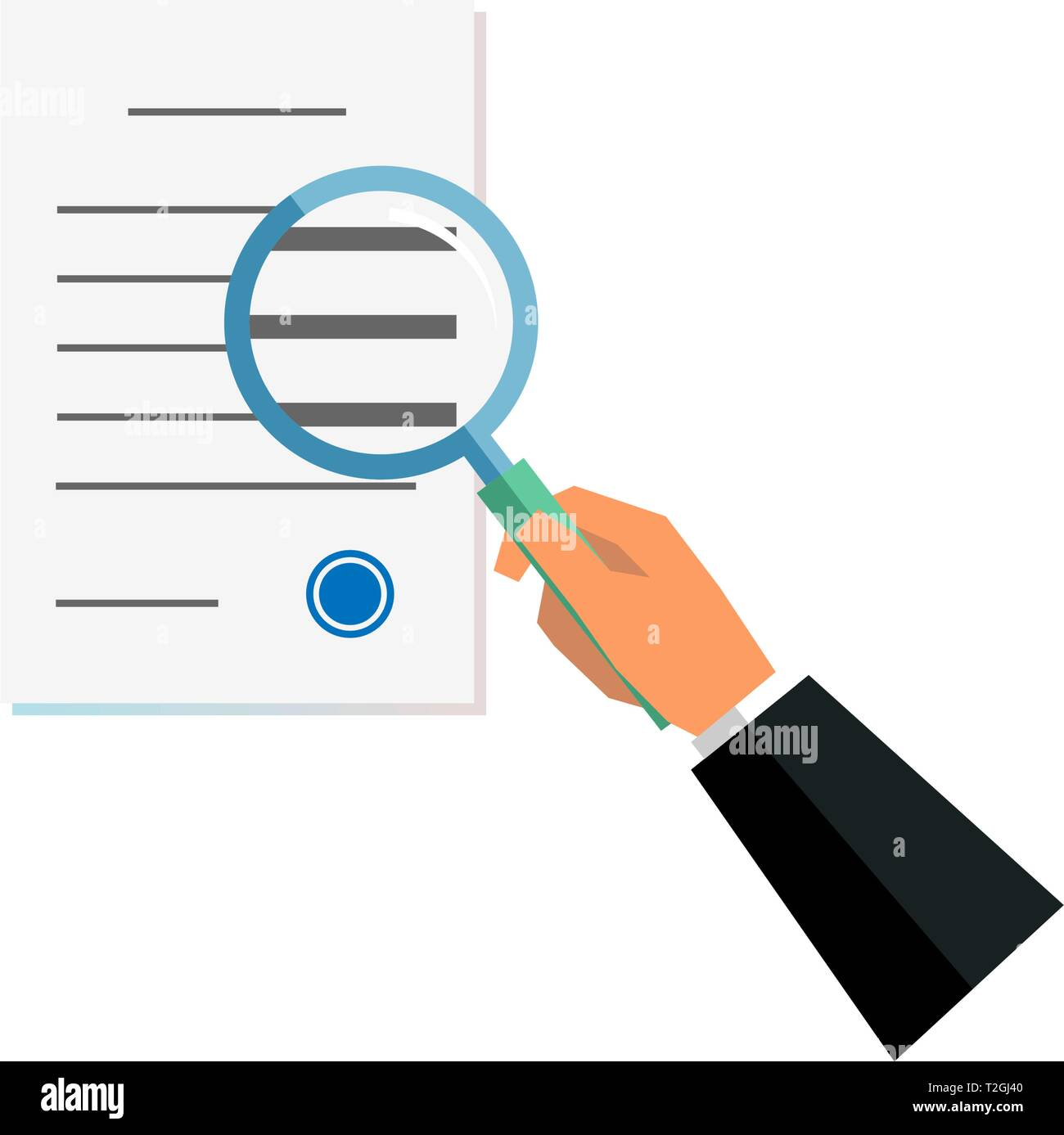 Hand holding magnifier glass and paper document approved. Business verification information search concept. Reading, viewing and studying. Vector illu - Stock Image