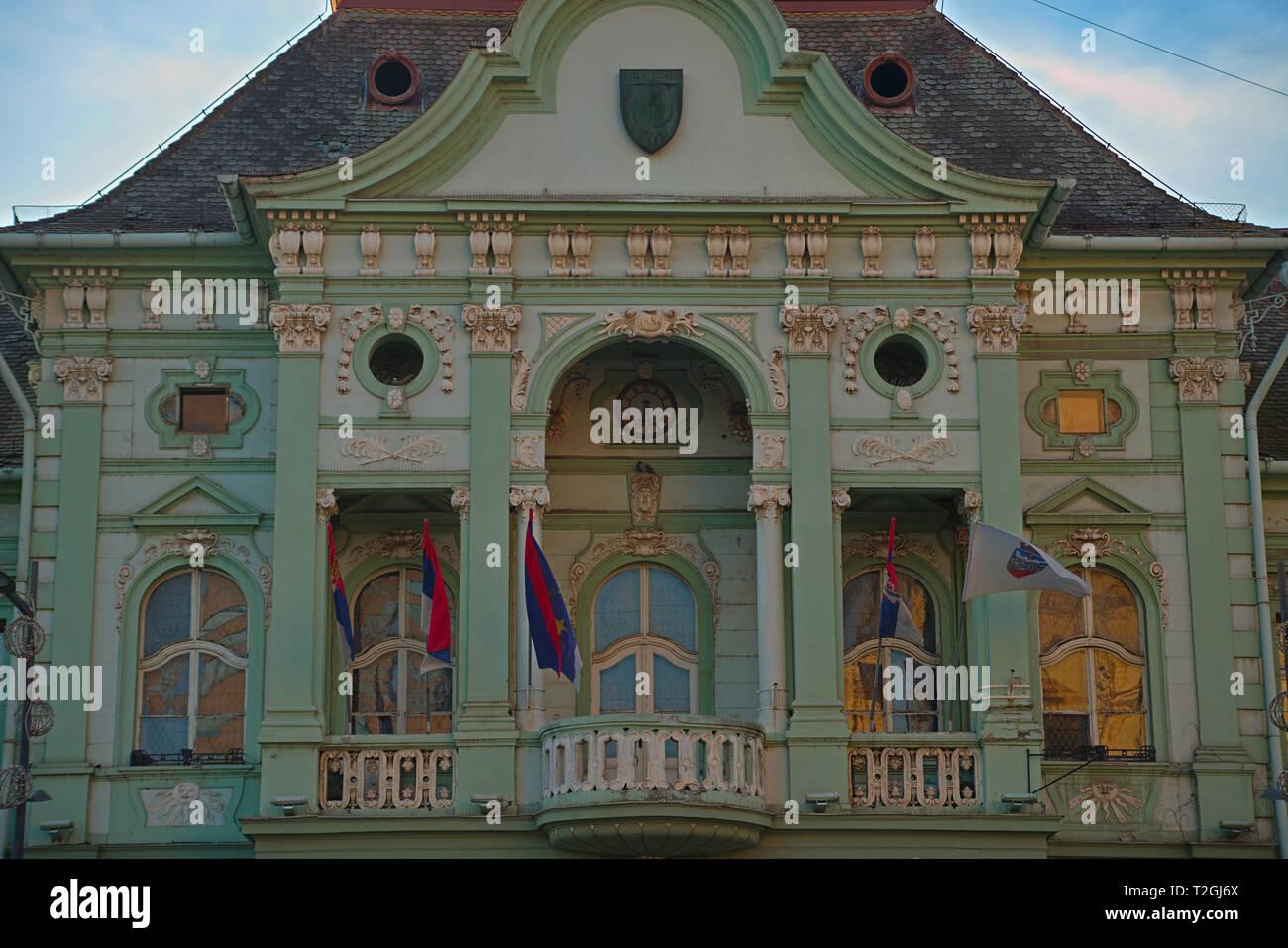ZRENJANIN, SERBIA, OCTOBER 14th 2018 - Balcony on all baroque city hall Stock Photo