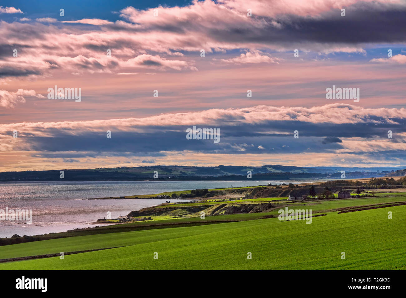 Caithness coast, looking south near Helmsdale, A9,  Highland Region, Scotland UK - Stock Image
