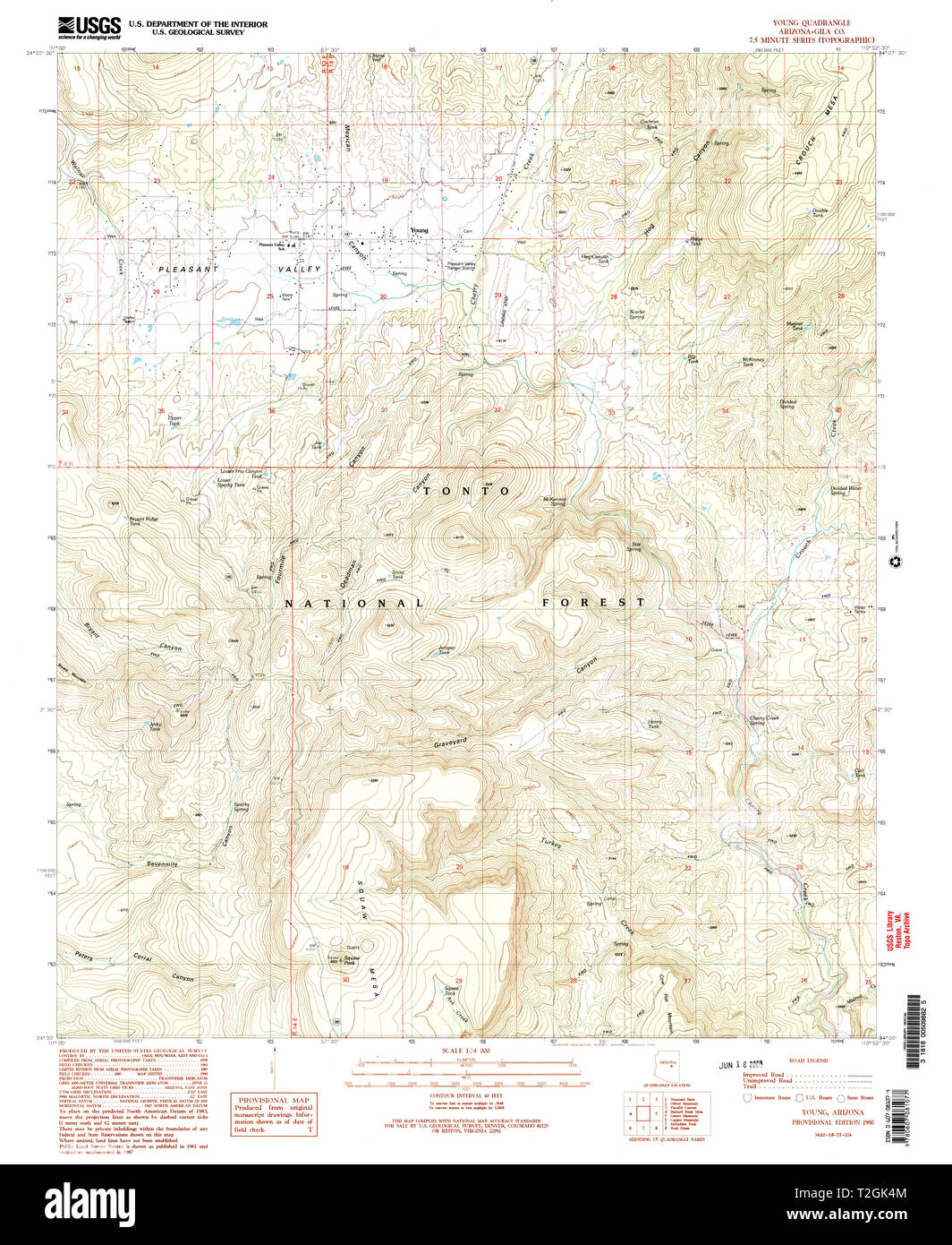 Map Of Young Arizona.Usgs Topo Map Arizona Az Young 314208 1990 24000 Restoration Stock