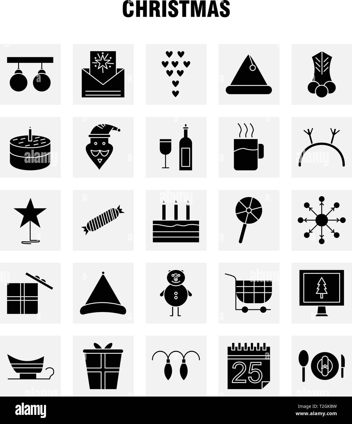 Christmas Solid Glyph Icons Set For Infographics, Mobile UX/UI Kit And Print Design. Include: Christmas Candy, Sweet, Christmas, Food, Meal, Clown, Sa Stock Vector