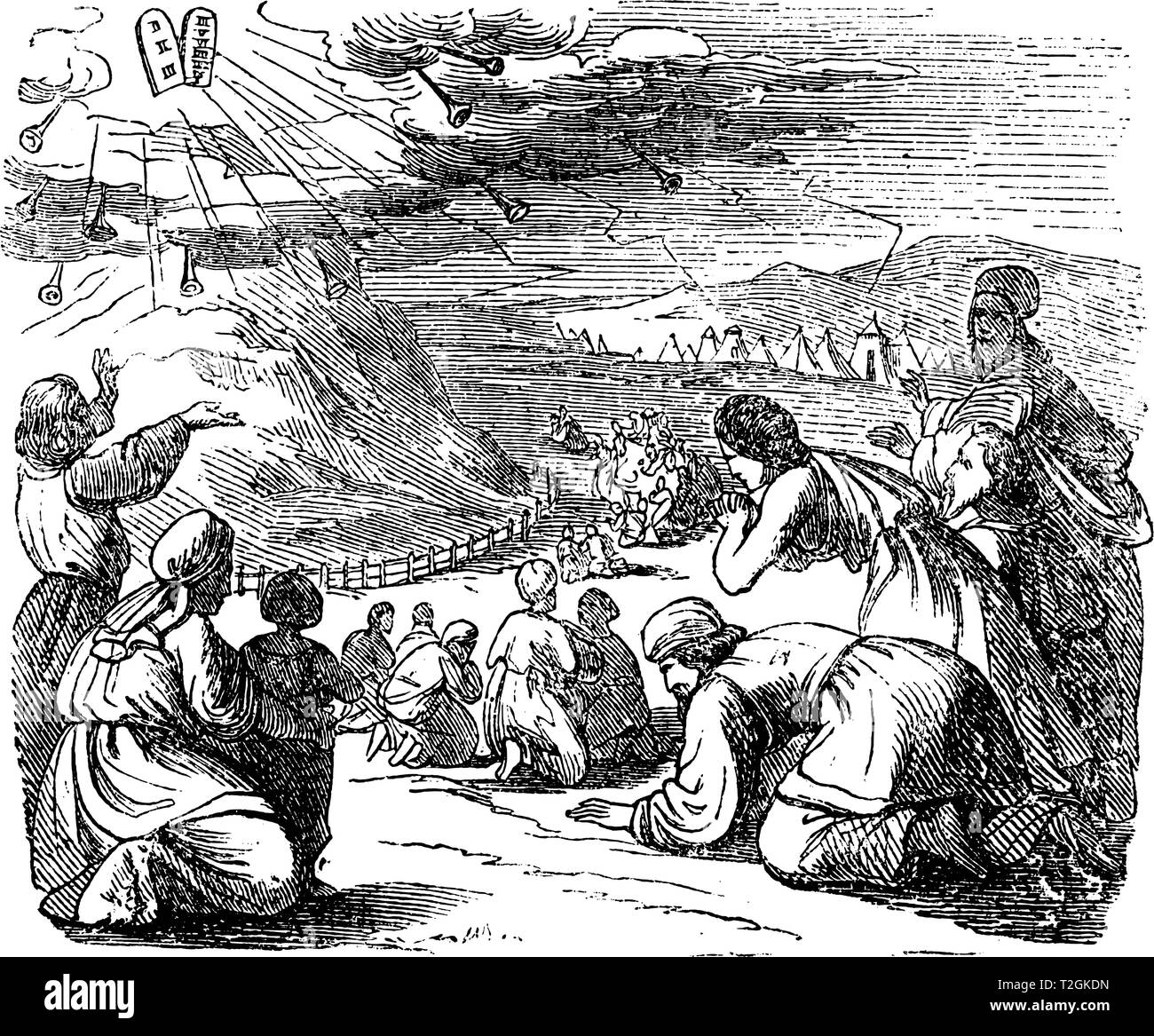 Vintage antique illustration and line drawing or engraving of biblical story of Israelites and stone tablets with ten commandments given by got on mou - Stock Image