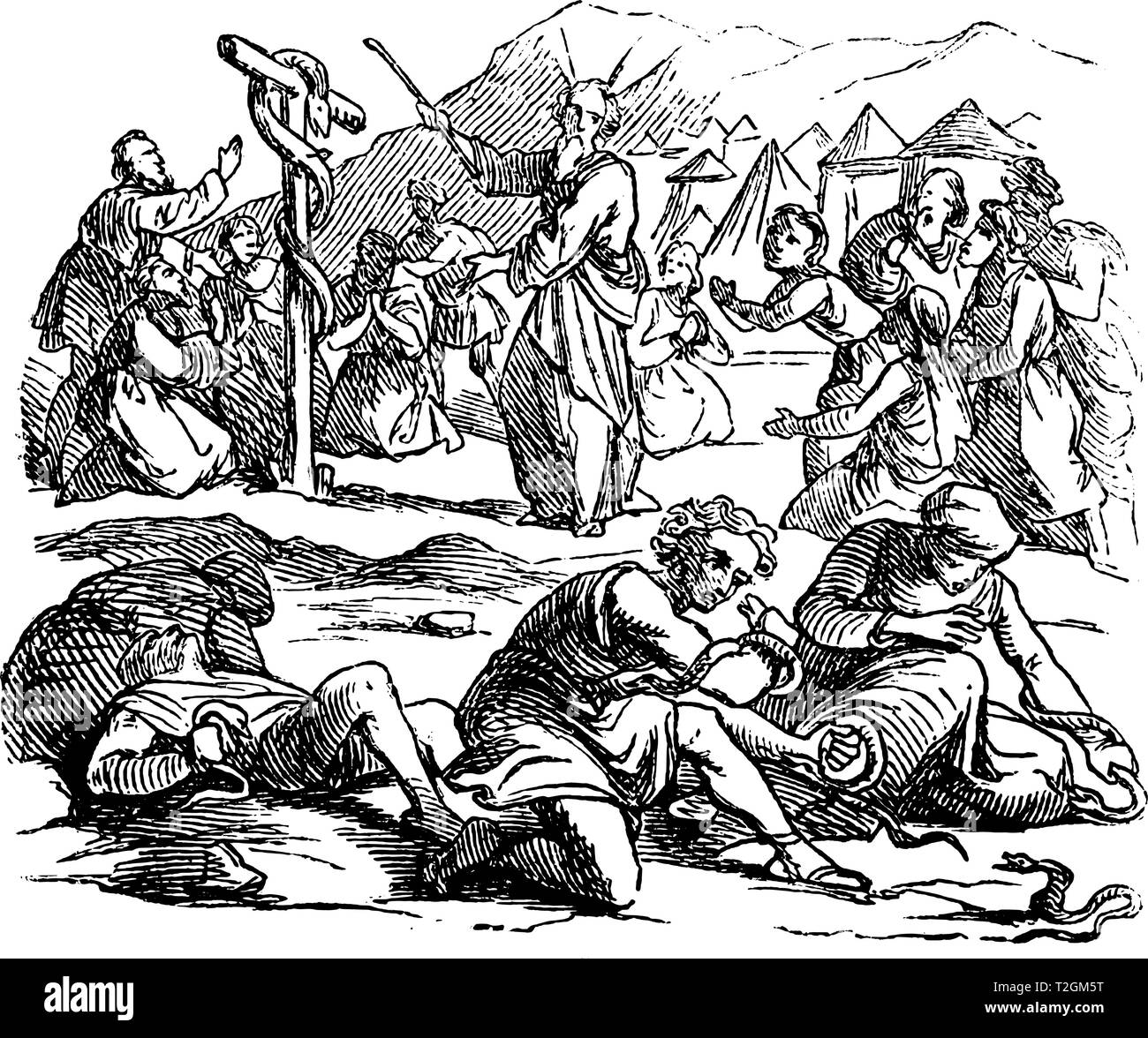 Vintage antique illustration and line drawing or engraving of biblical Israelites spoking against Moses, God send poisonous snakes as punishment.From  - Stock Vector