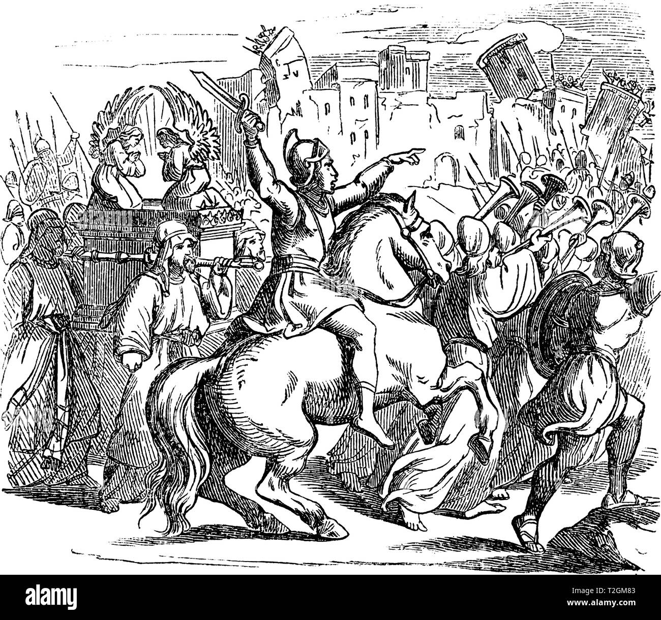 Vintage antique illustration and line drawing or engraving of biblical Israelites attacking city of Jericho. Walls falling when blowing trumpets.From  Stock Vector