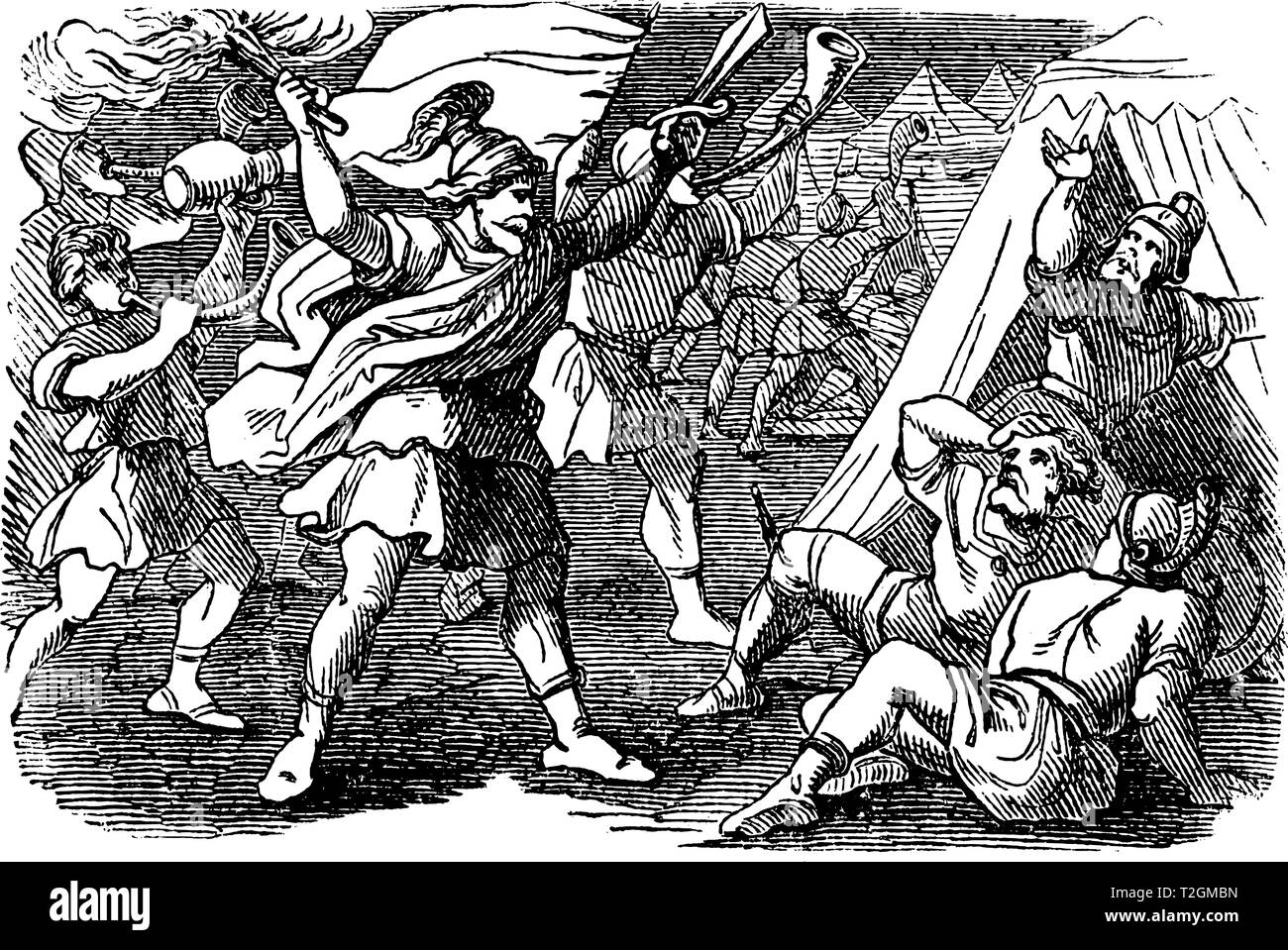 Vintage antique illustration and line drawing or engraving of biblical Israelites attacking camp of Midianites under the lead of Gideon.From Biblische - Stock Image