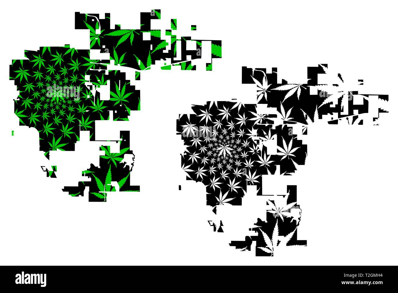 Aurora city (United States of America, USA, U.S., US, United States cities, usa city)- map is designed cannabis leaf green, City of Aurora map made of - Stock Image