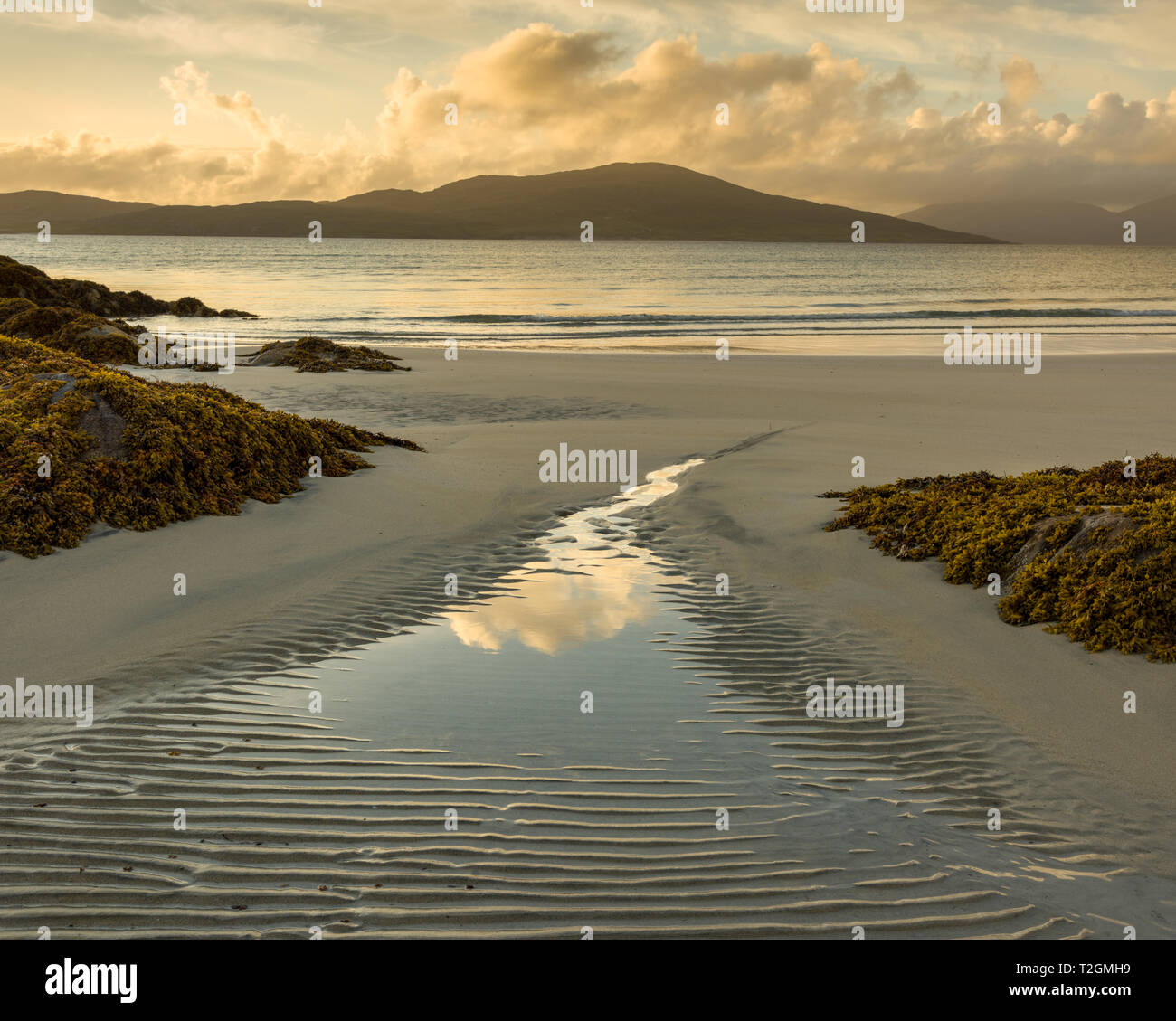 View out from Seilebost beach at sunset, Isle of Harris, Outer Hebrides, Scotland, UK - Stock Image
