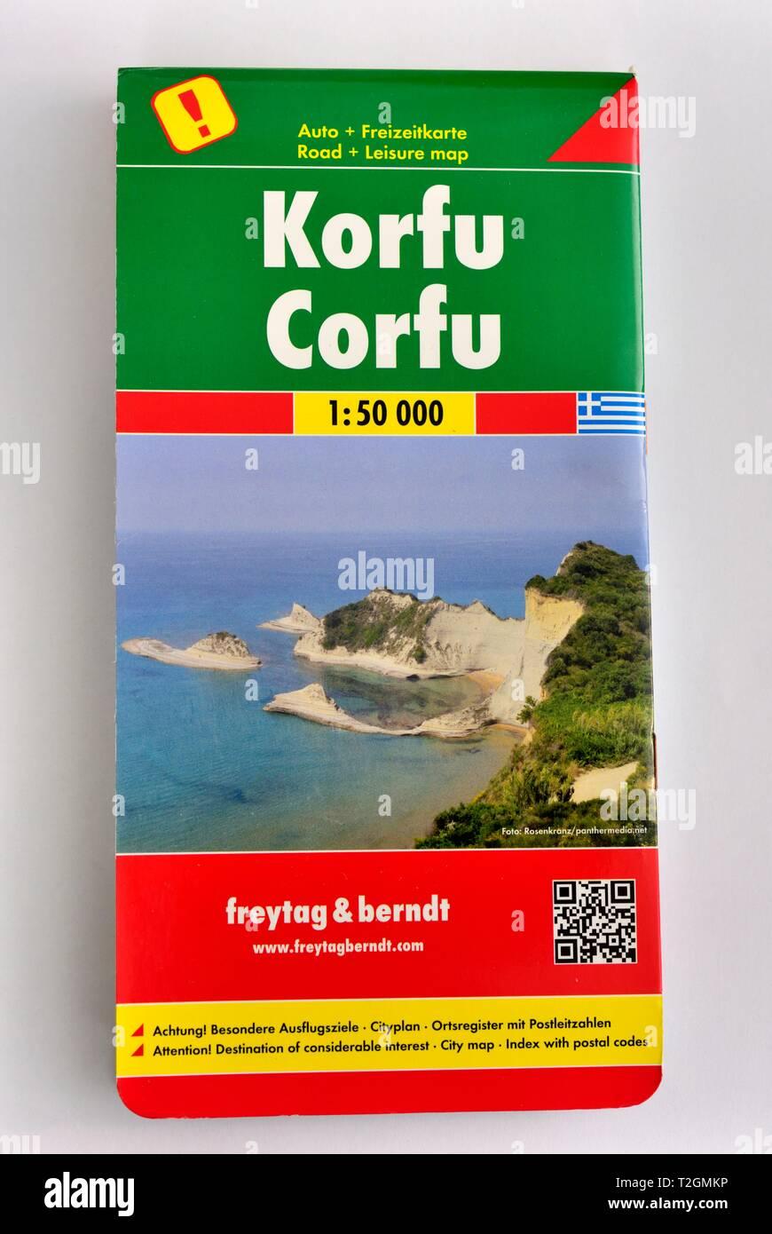 Korfu,Corfu,road leisure map,Freytag&Berndt, - Stock Image