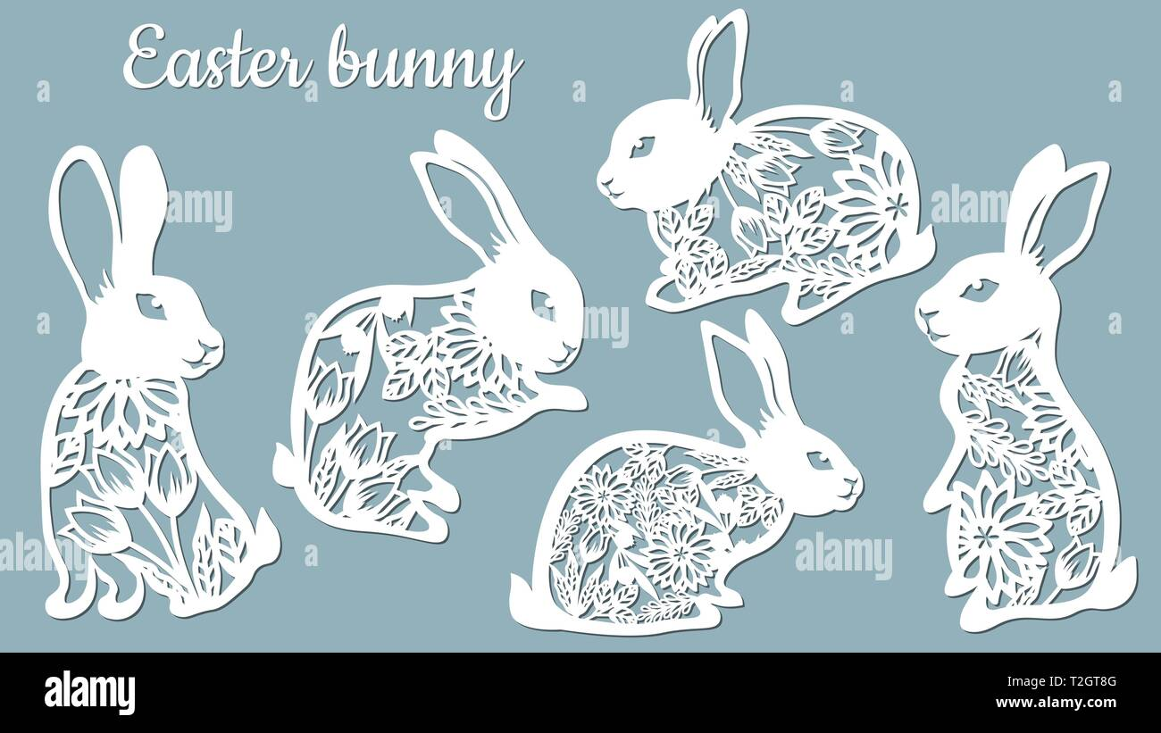 Laser Cut Easter Bunny Rabbit Floral Fancy Hare With Laser