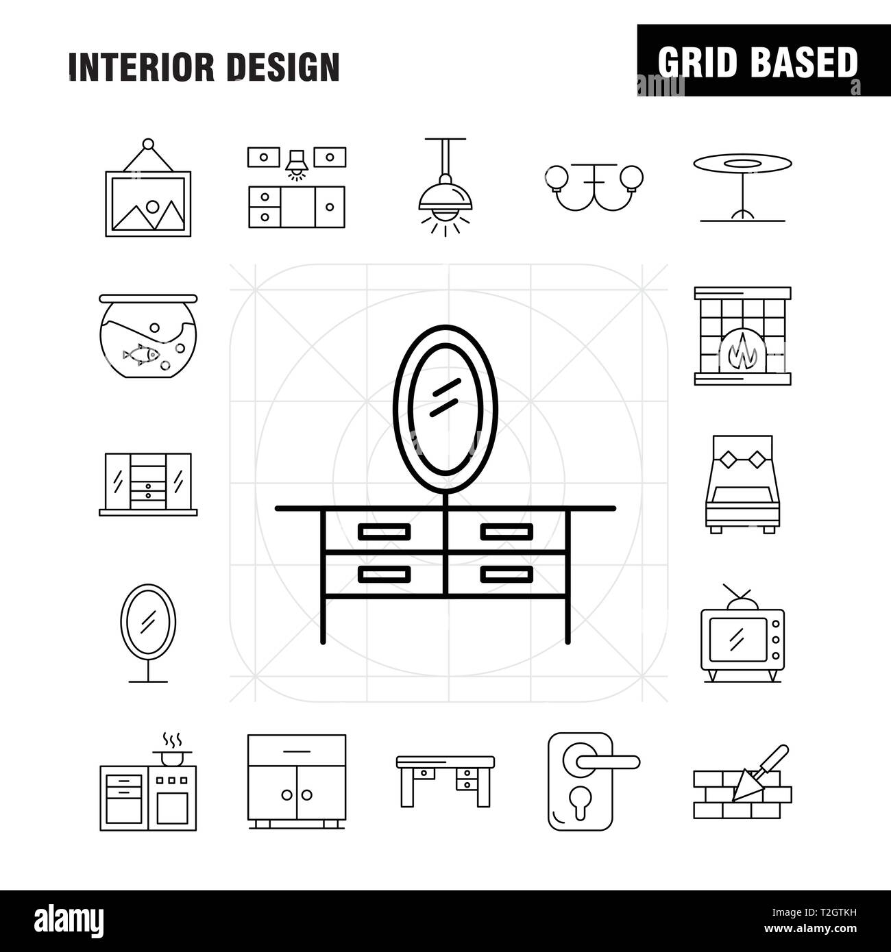 Interior Design Line Icons Set For Infographics, Mobile UX