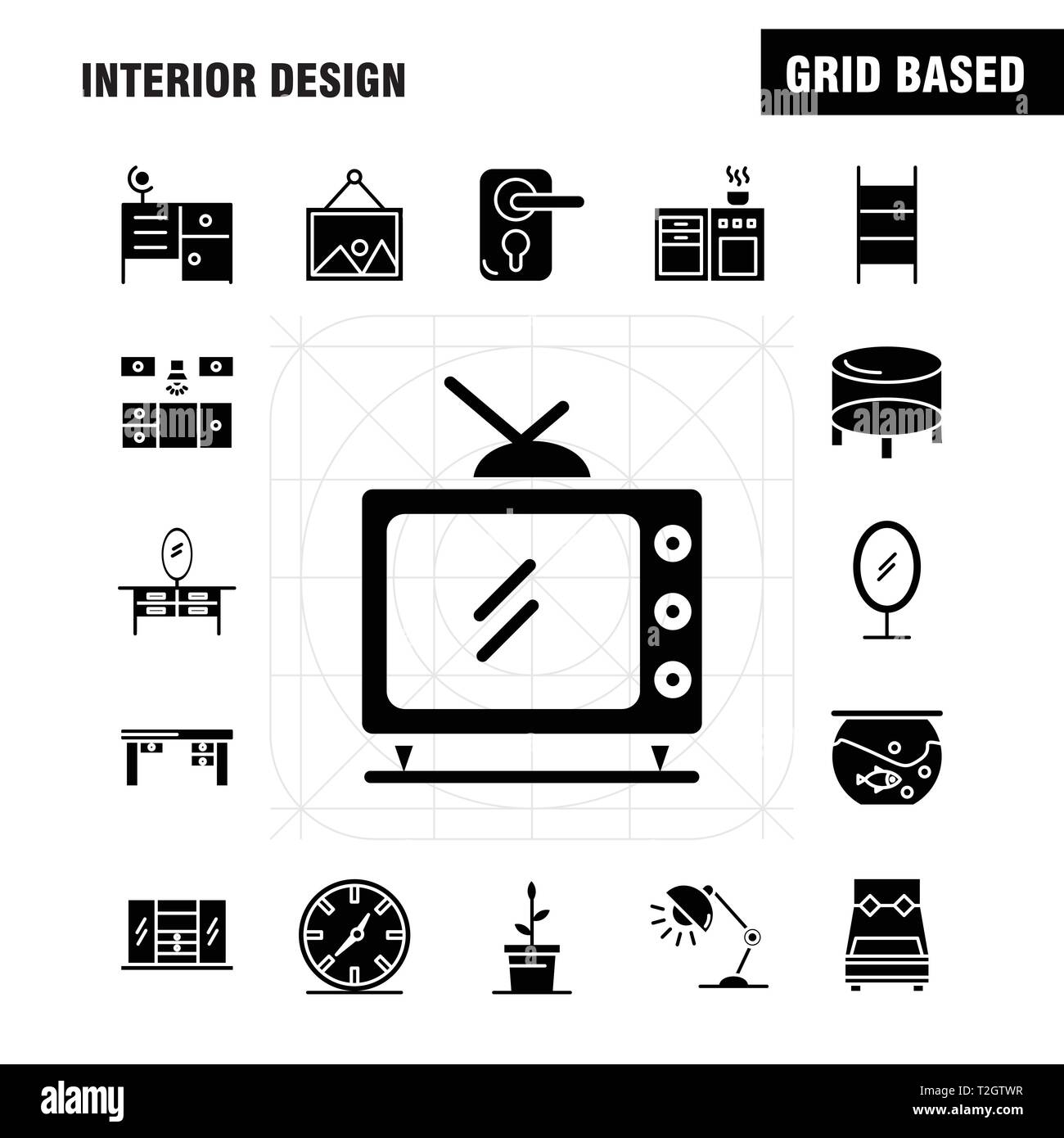 Interior Design Solid Glyph Icons Set For Infographics, Mobile UX/UI Kit And Print Design. Include: Bedroom, Cupboard, Furniture, House, Wardrobe, Tel - Stock Image