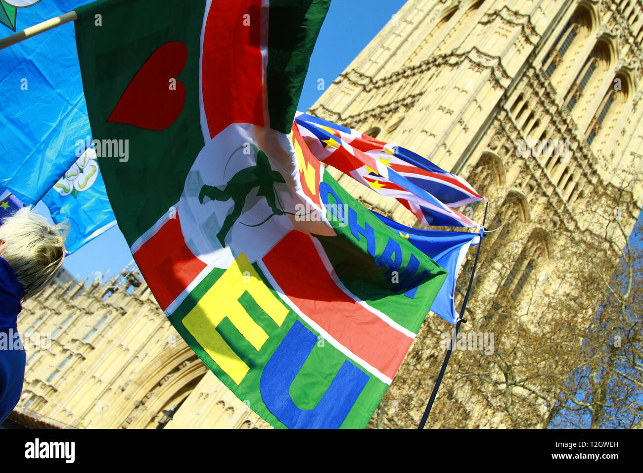 BREXIT. STOP BREXIT. FLAGS OUTSIDE THE PALACE OF WESTMINSTER. FLAGS CARRIED BY PEOPLE WHO HAD TRAVELLED FROM LANCASHIRE AND YORKSHIRE. Stock Photo