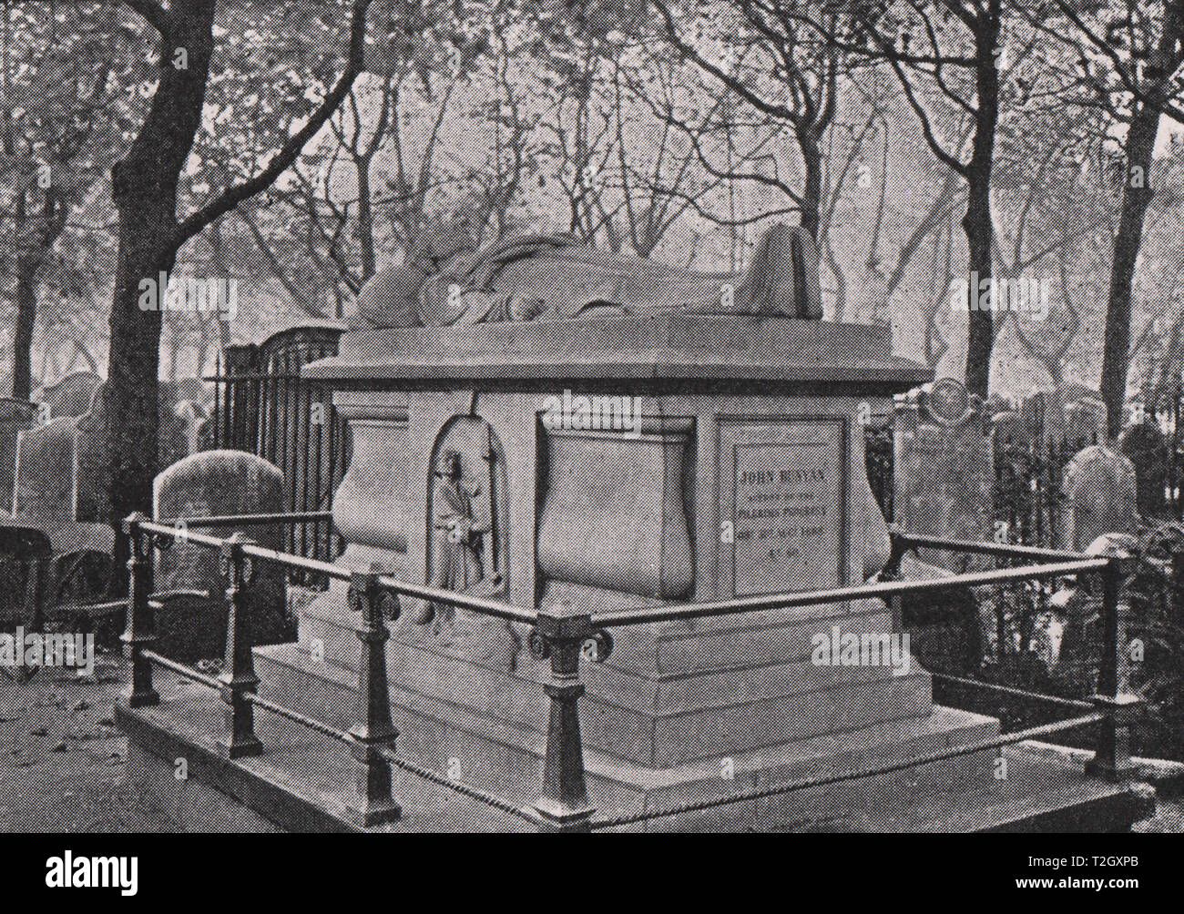 Bunyan's Grave, Bunhill Fields, City Road (By Permission of the Corporation of London) - Stock Image