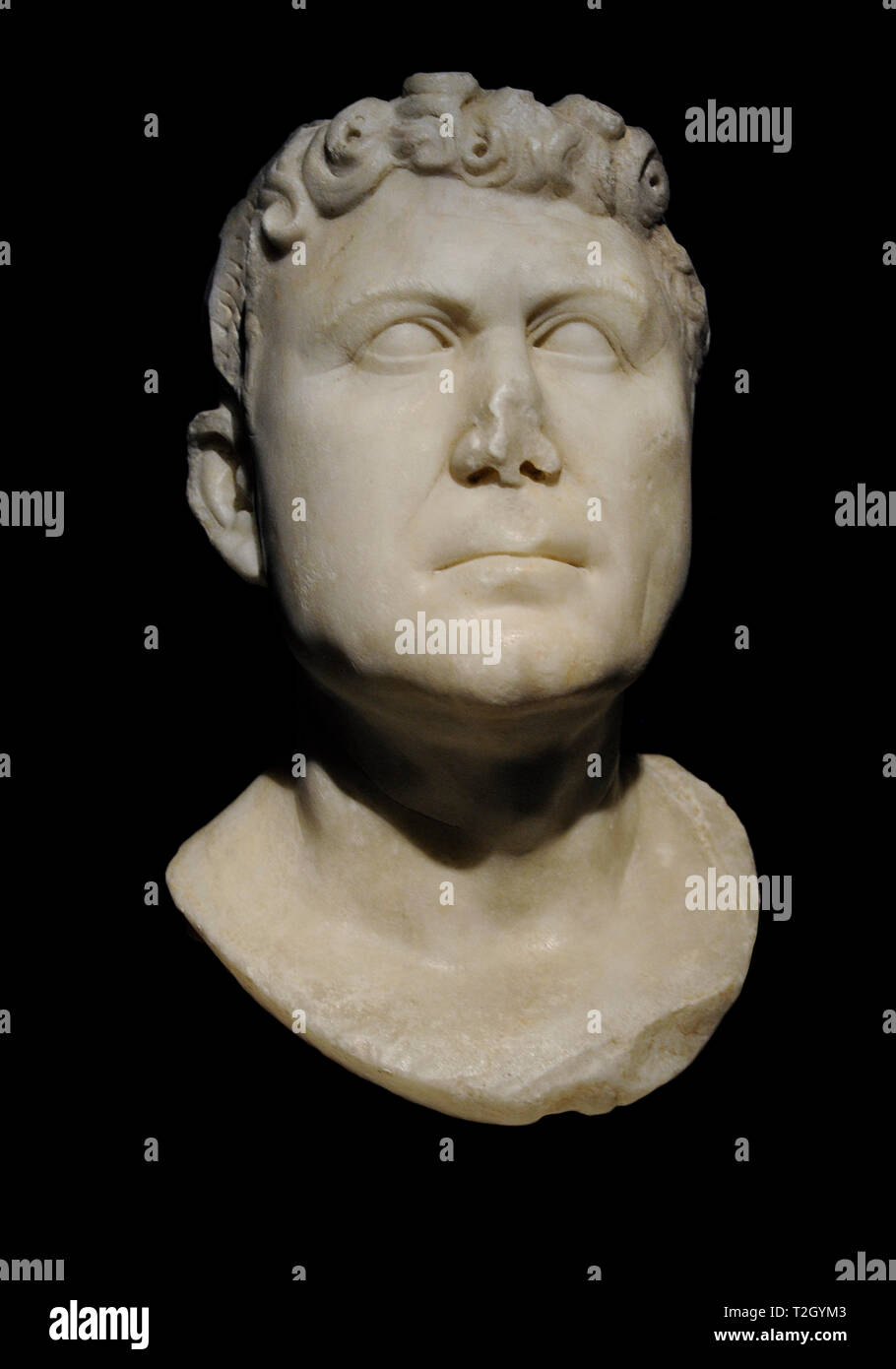 Private portrait of a man. 1st century. Marble. From Augusta Emerita (Merida, province of Badajoz, Extremadura, Spain). National Archaeological Museum. Madrid. Spain. - Stock Image