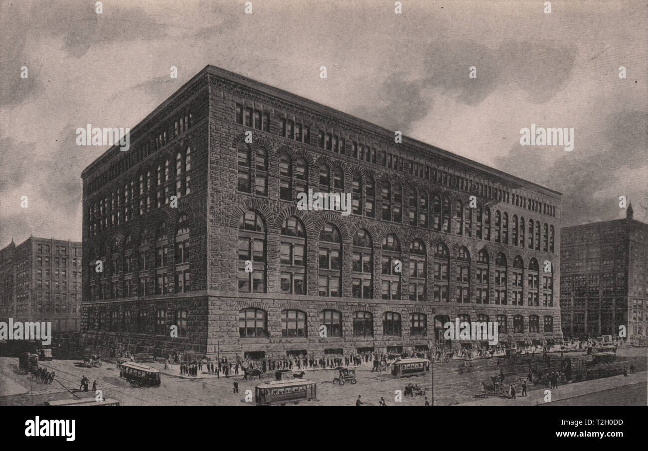 Marshall Field & Company's Wholesale Store; Fifth Avenue, Adams, & Quincy streets - Stock Image