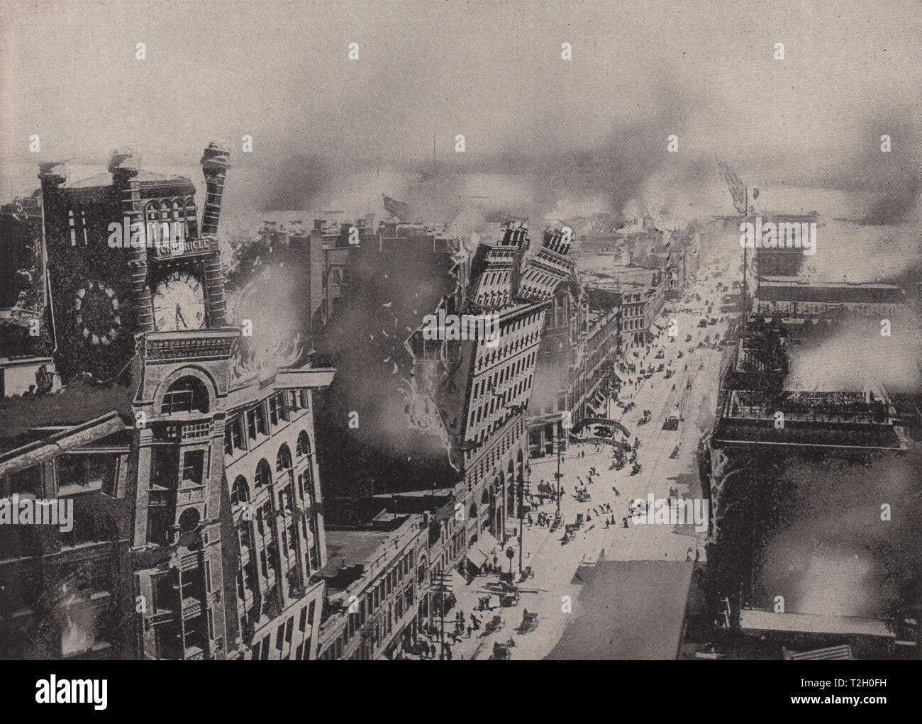 Great Conflagration in San Francisco after the Terrible Shocks of the earthquake - Stock Image