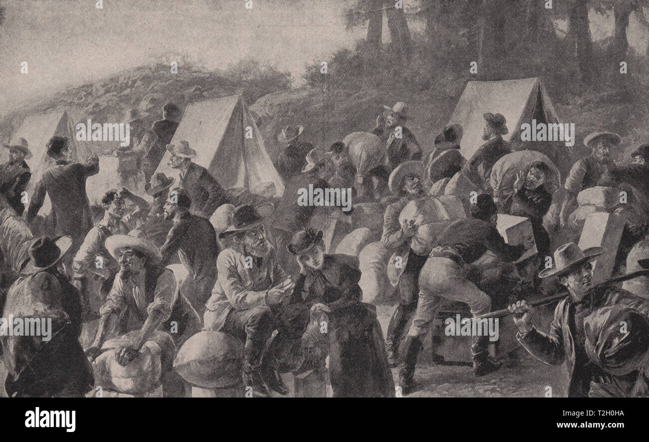 Mining Camp in California on the Discovery of Gold in 1849 - Stock Image