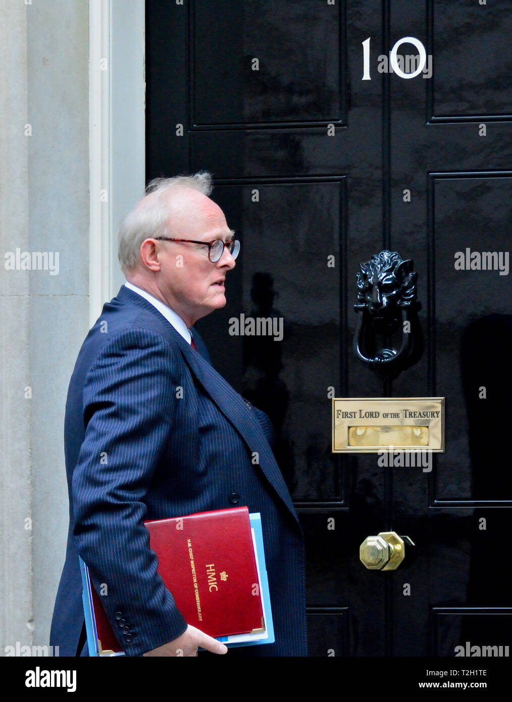 HM chief inspector of constabulary, Sir Tom Winsor, arriving at 10 Downing Street for a Knife Crime Summit, 1st April 2019 - Stock Image